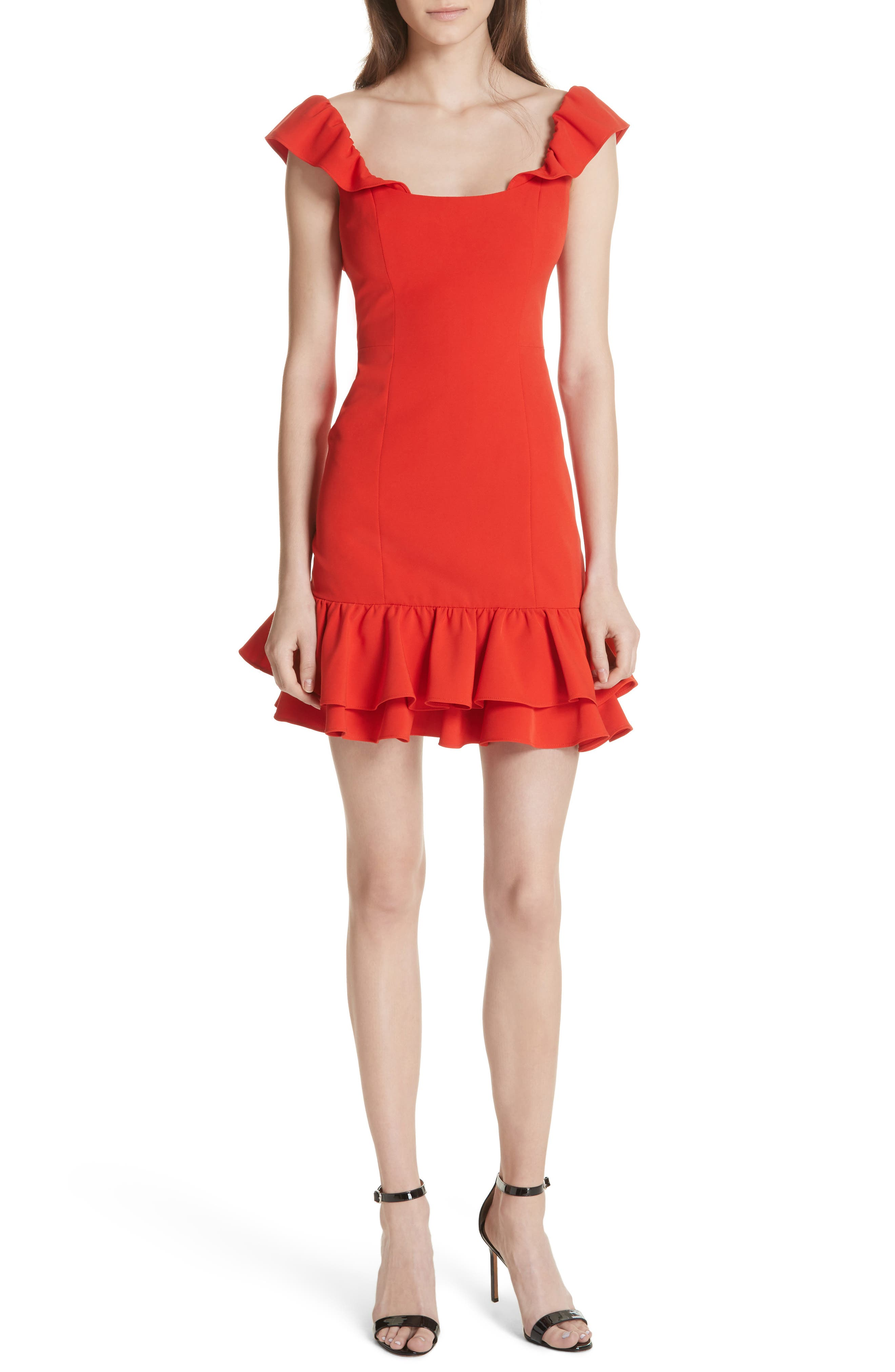 Savannah Ruffle Crepe Minidress,                             Main thumbnail 1, color,                             Tomato