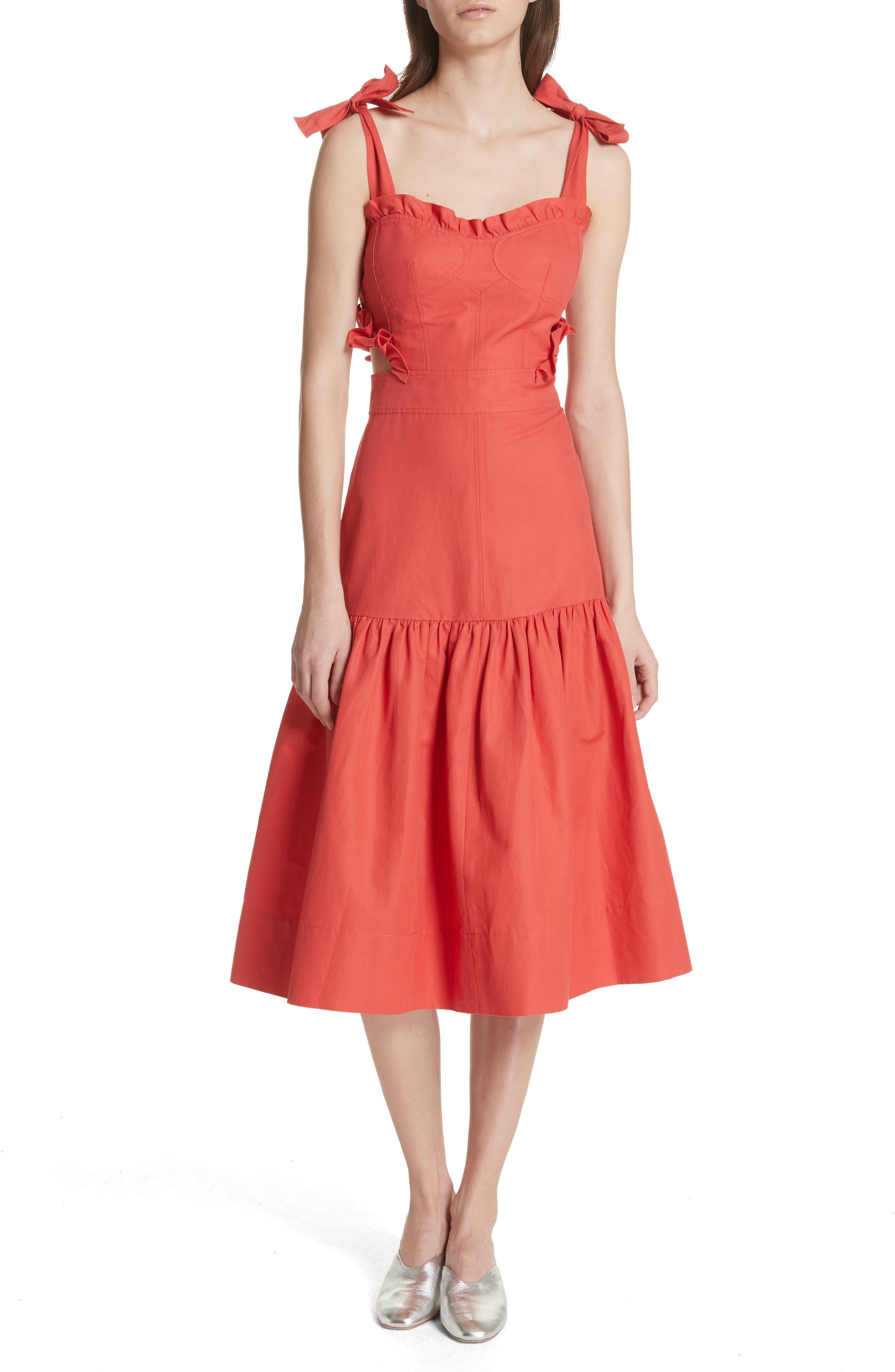 Sleeveless Ruffle Hem Dress,                         Main,                         color, Cerise