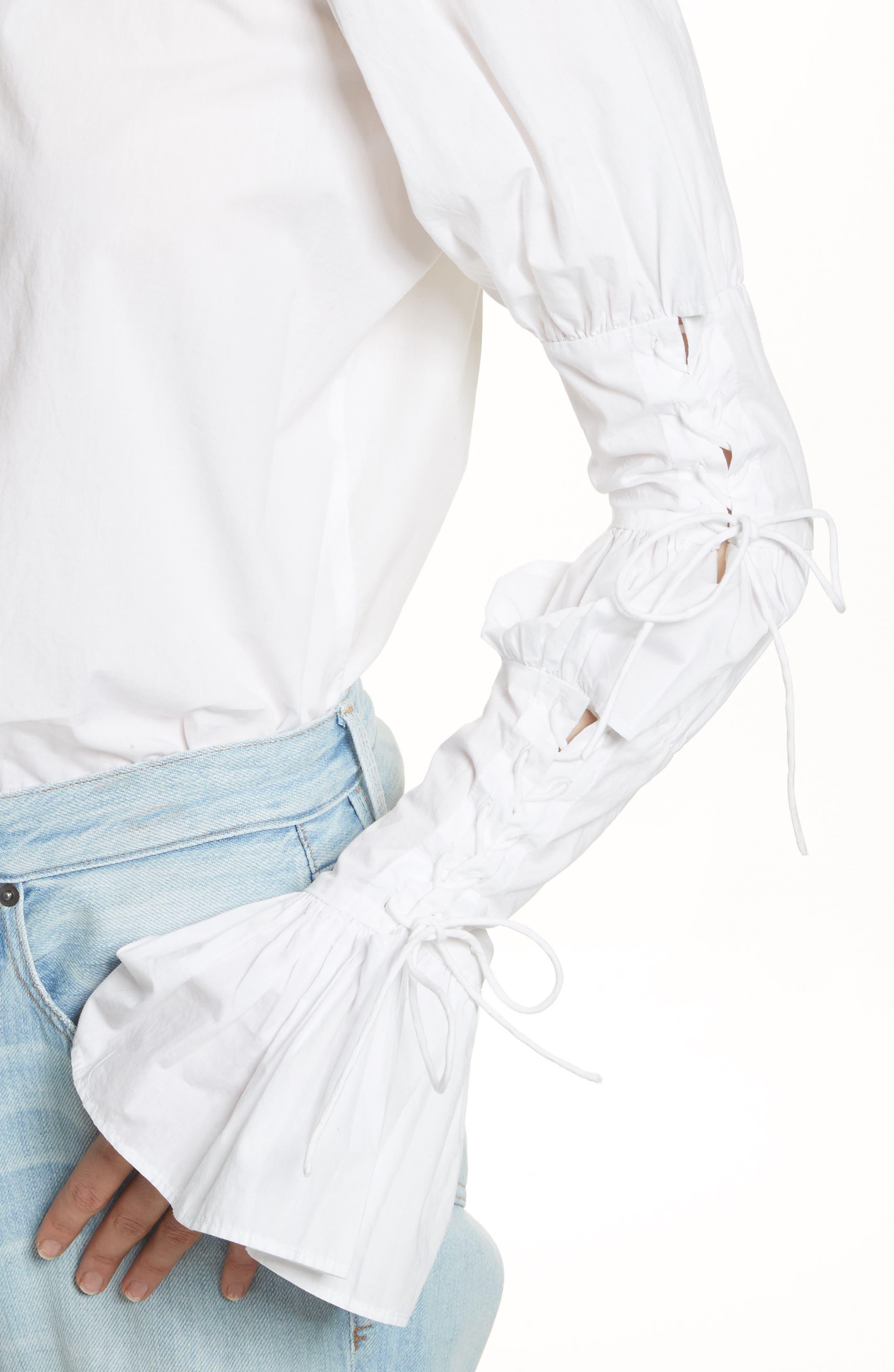 Lace-Up Sleeve Cotton Shirt,                             Alternate thumbnail 4, color,                             Blanc