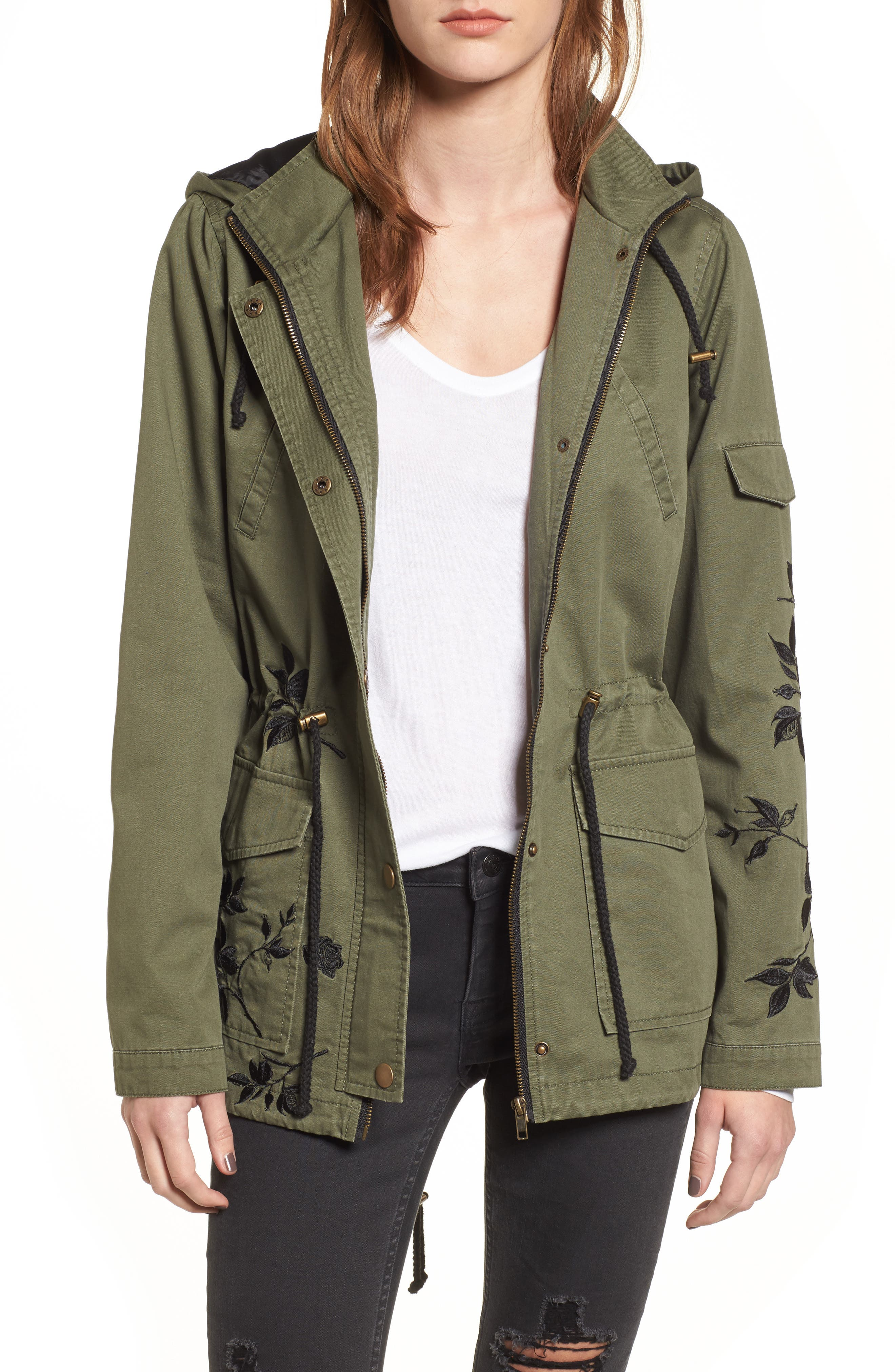 Embroidered Jacket,                             Main thumbnail 1, color,                             Olive