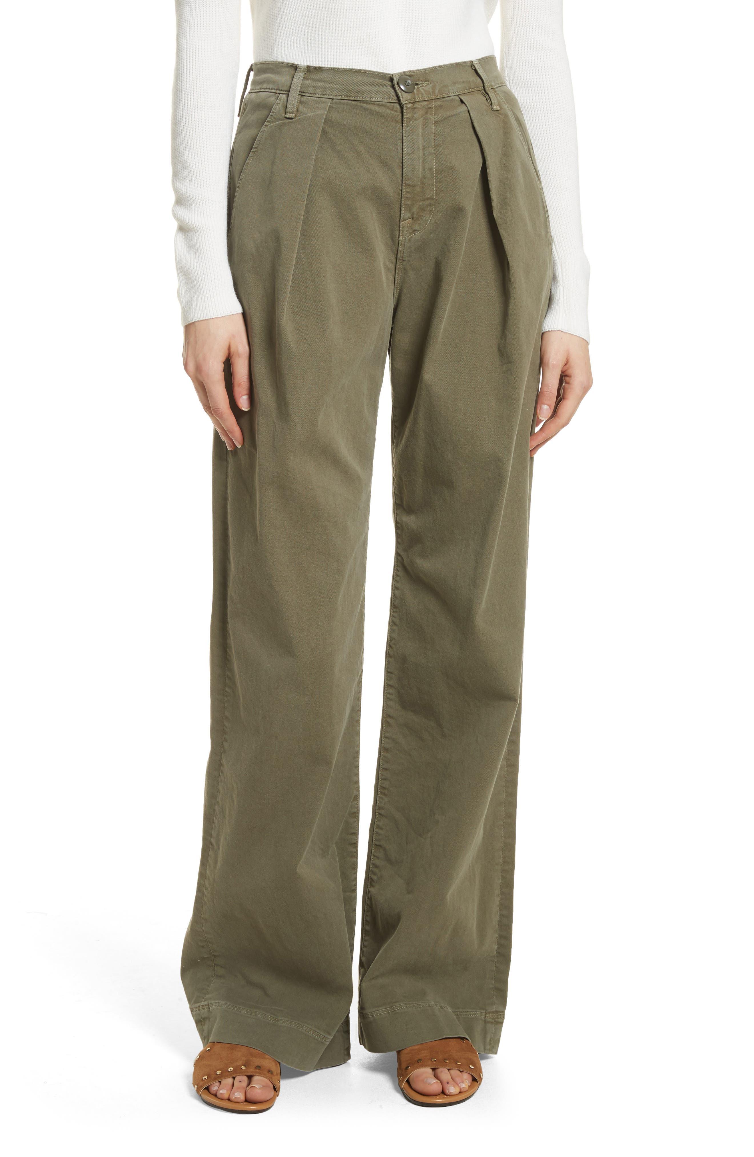 Le Service Wide Leg Pants,                         Main,                         color, Militia Green