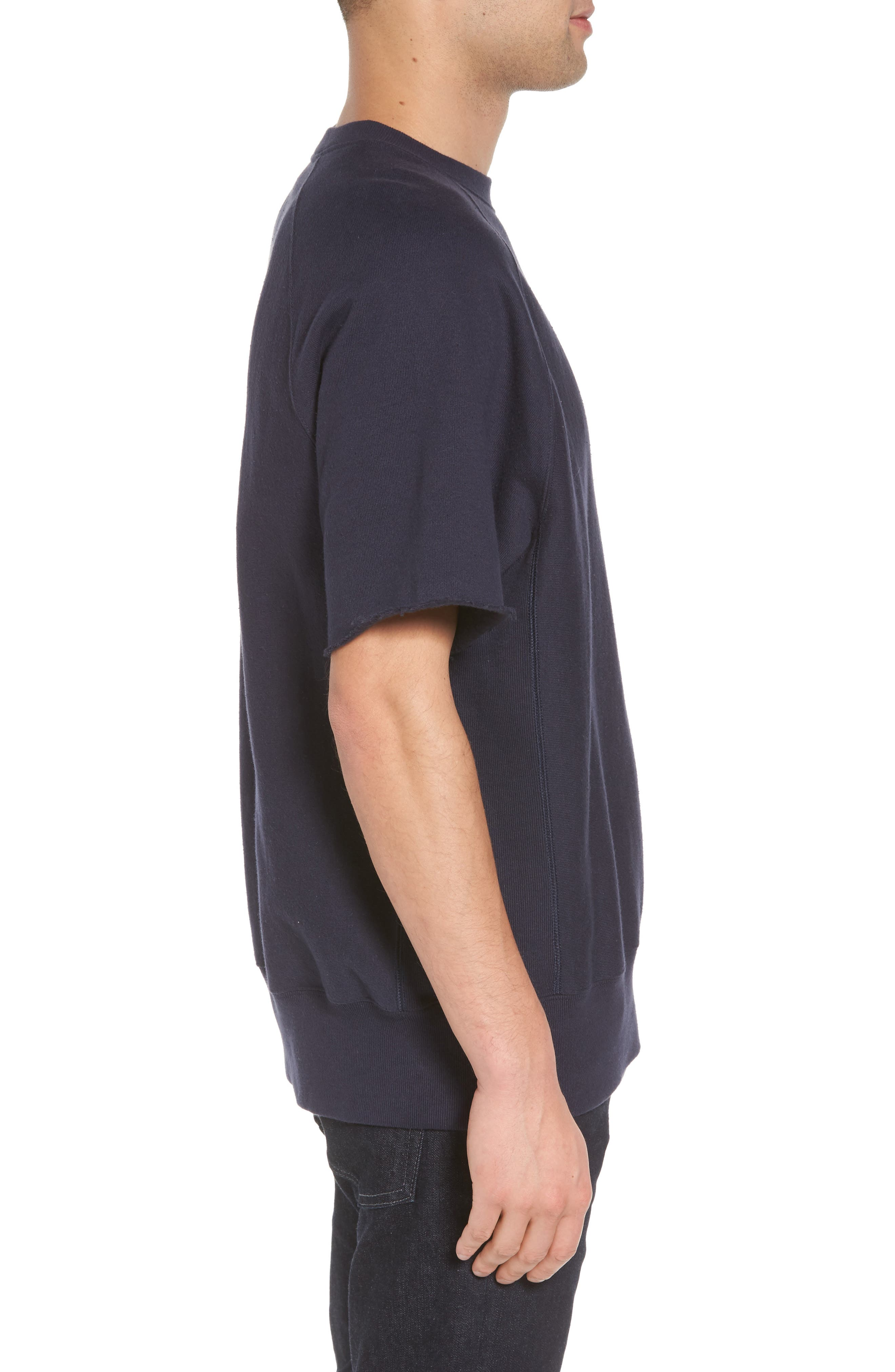 Reverse Weave Short Sleeve Sweatshirt,                             Alternate thumbnail 3, color,                             Navy