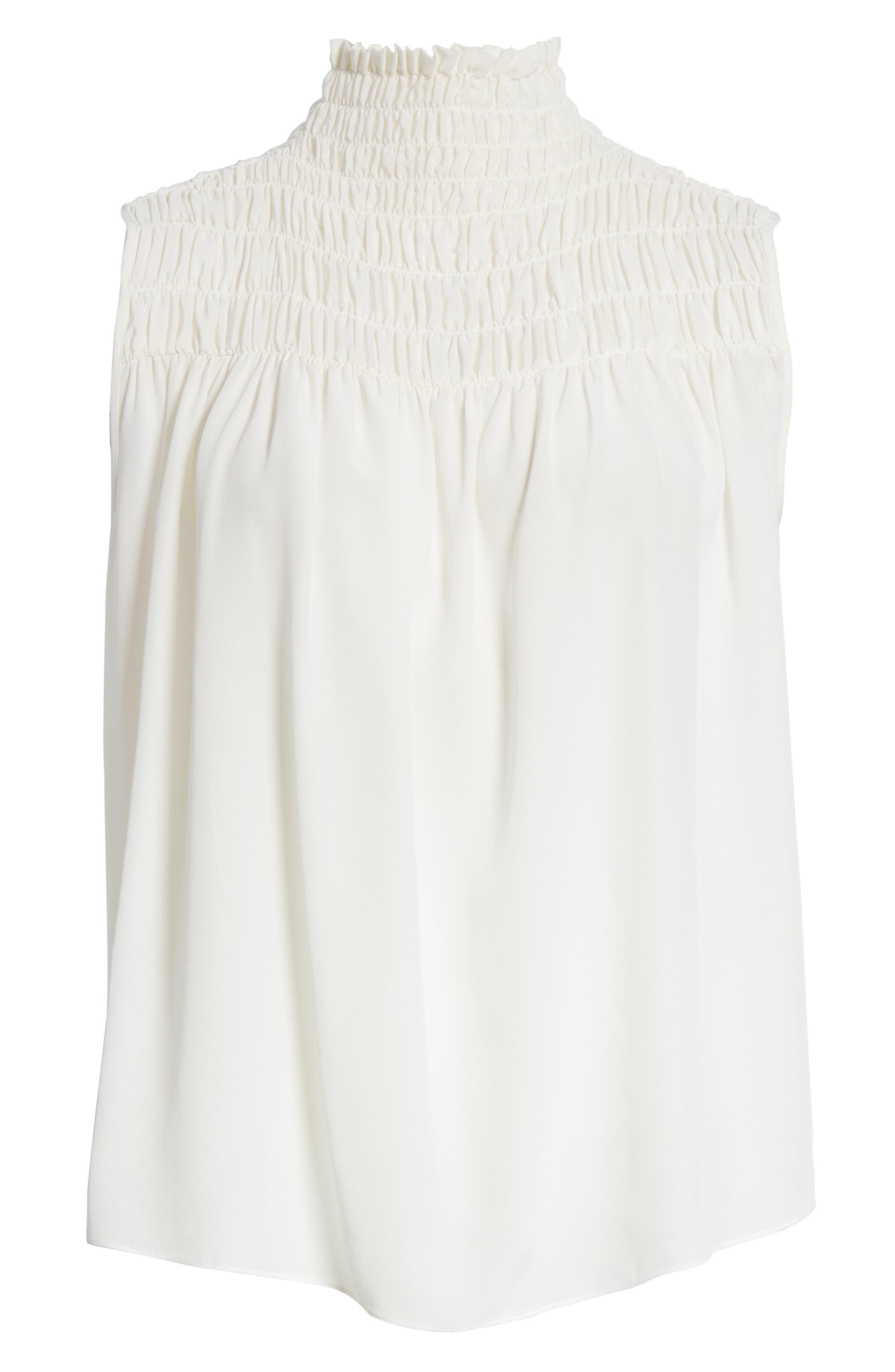 Smocked Sleeveless Silk Blouse,                             Alternate thumbnail 6, color,                             Off White