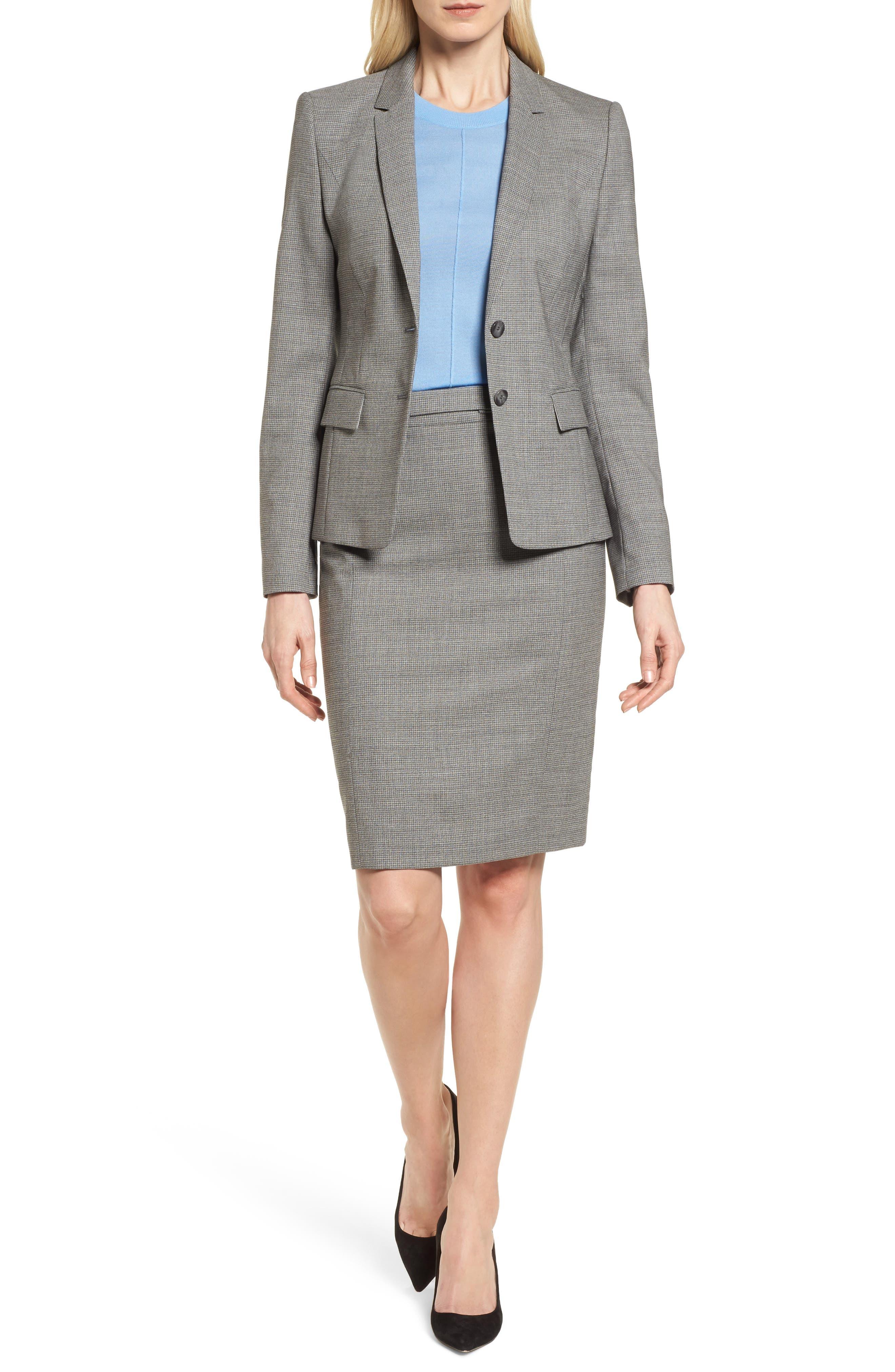 Vewisa Check Wool Suit Skirt,                             Alternate thumbnail 7, color,                             Cozy Grey Melange Fantasy