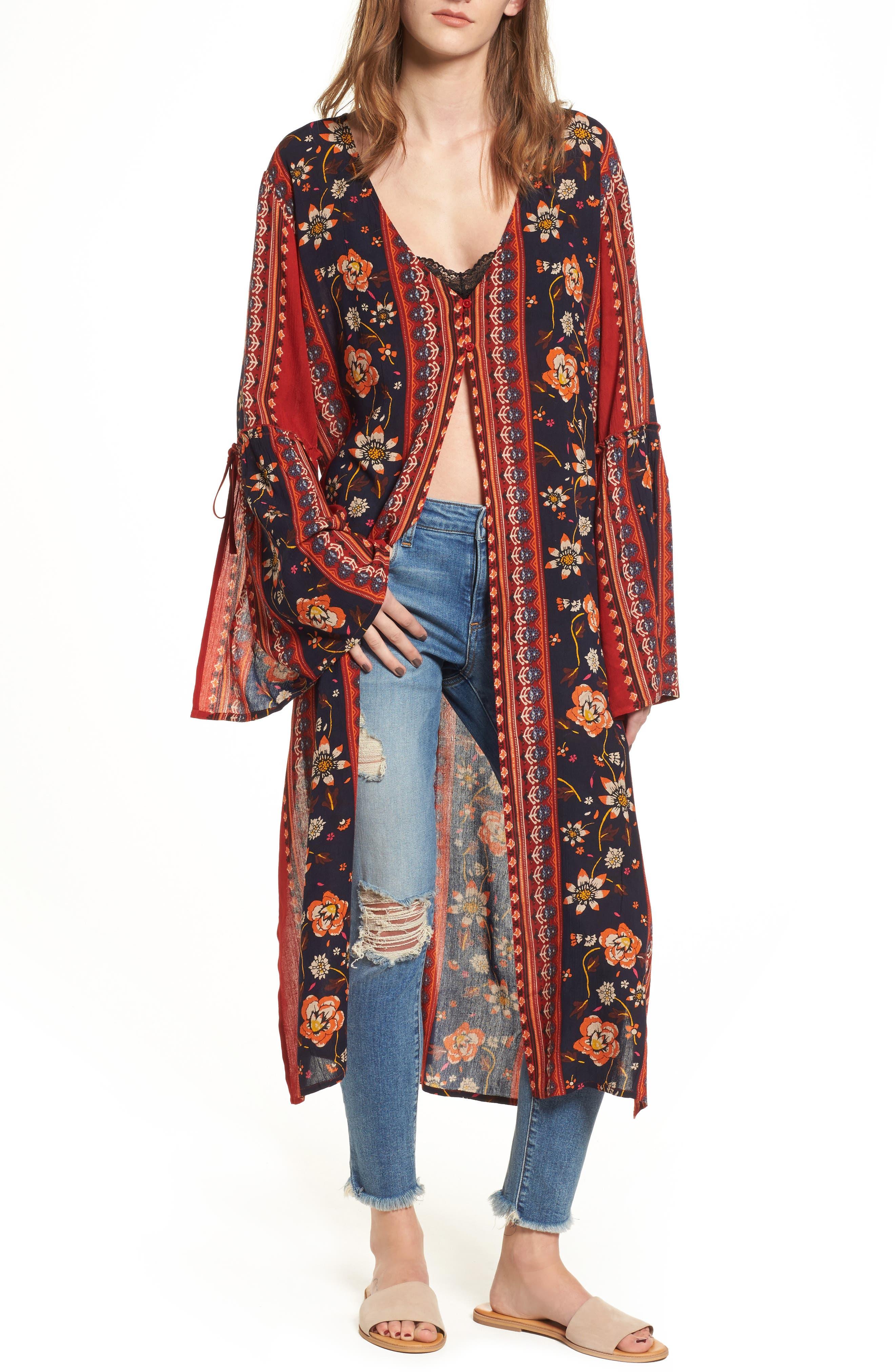 Bell Sleeve Kimono,                             Main thumbnail 1, color,                             Rust/ Navy
