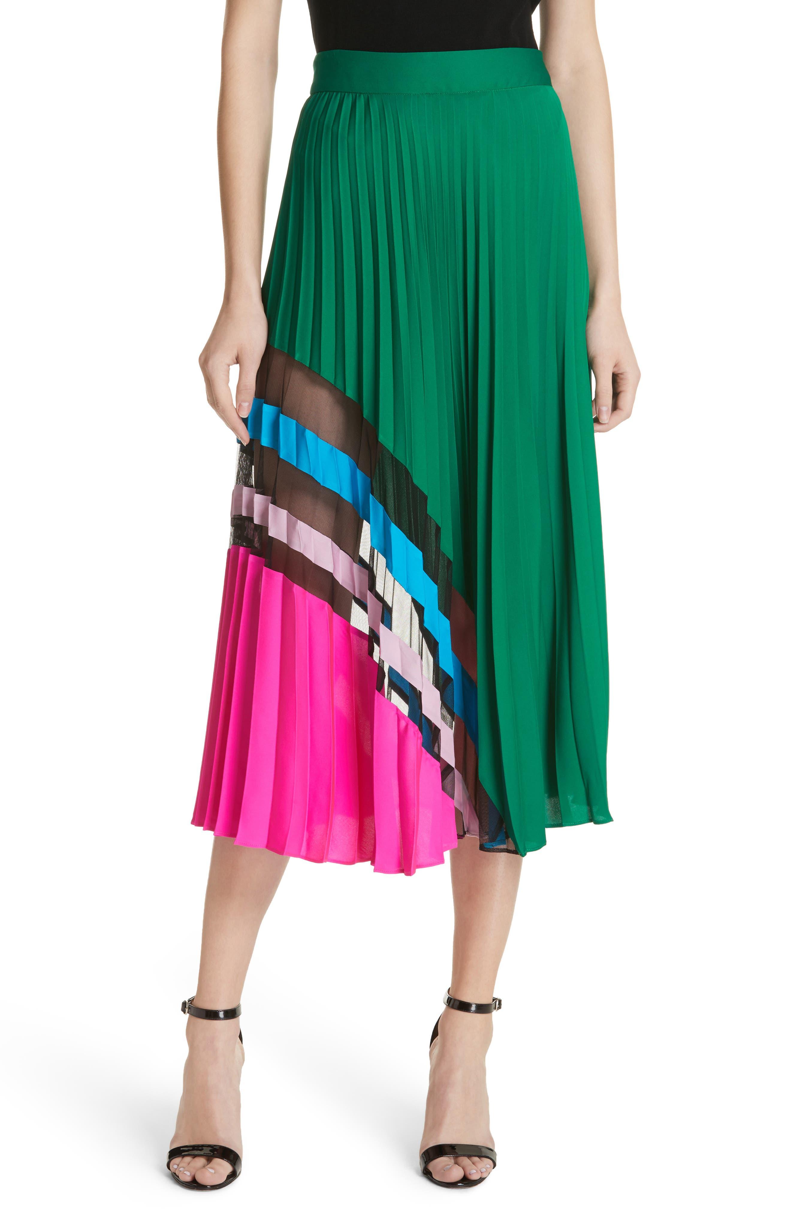 Pleated Maxi Skirt,                         Main,                         color, Emerald Multi