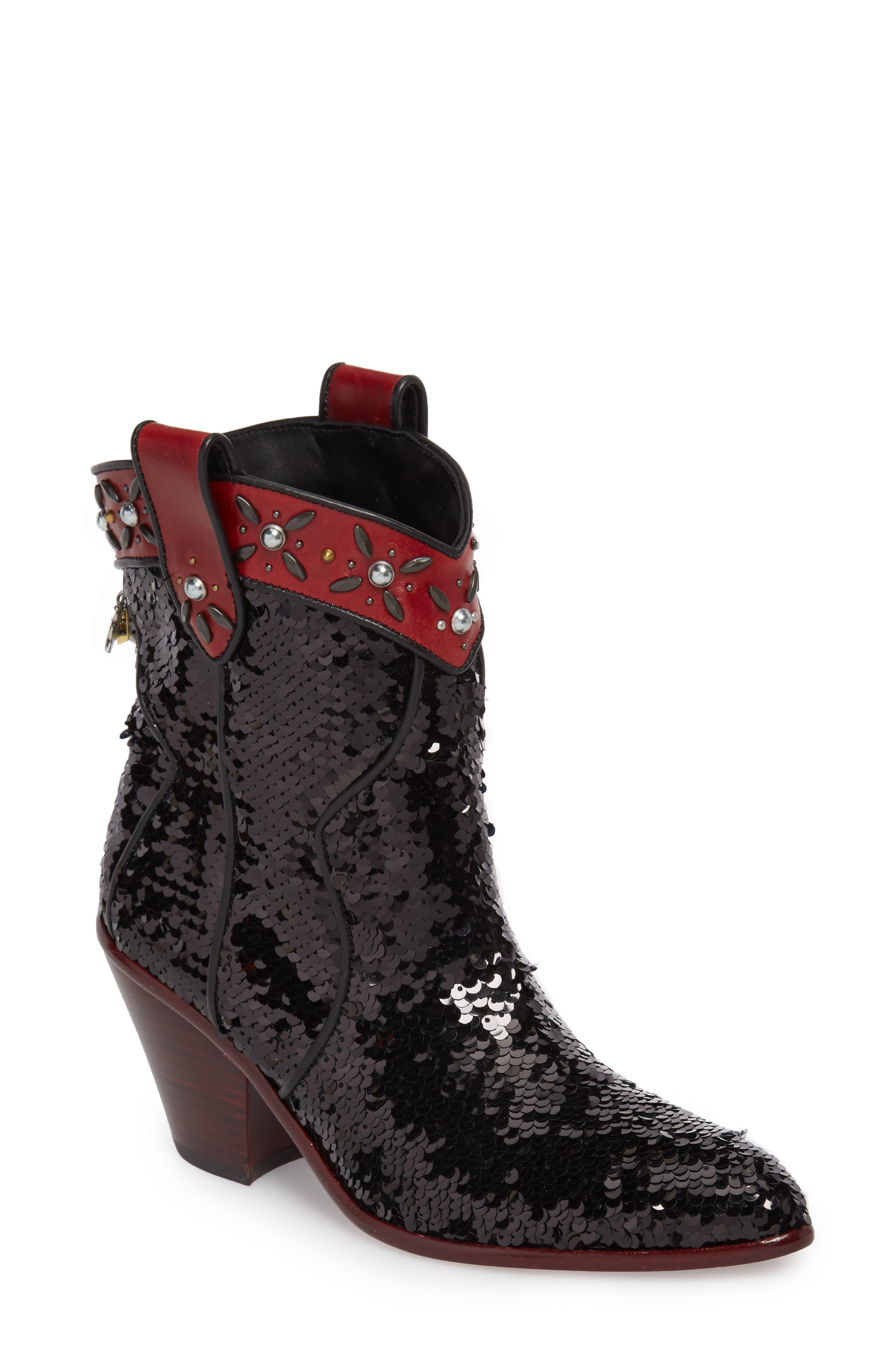 COACH Sequin Embellished Western Bootie (Women)