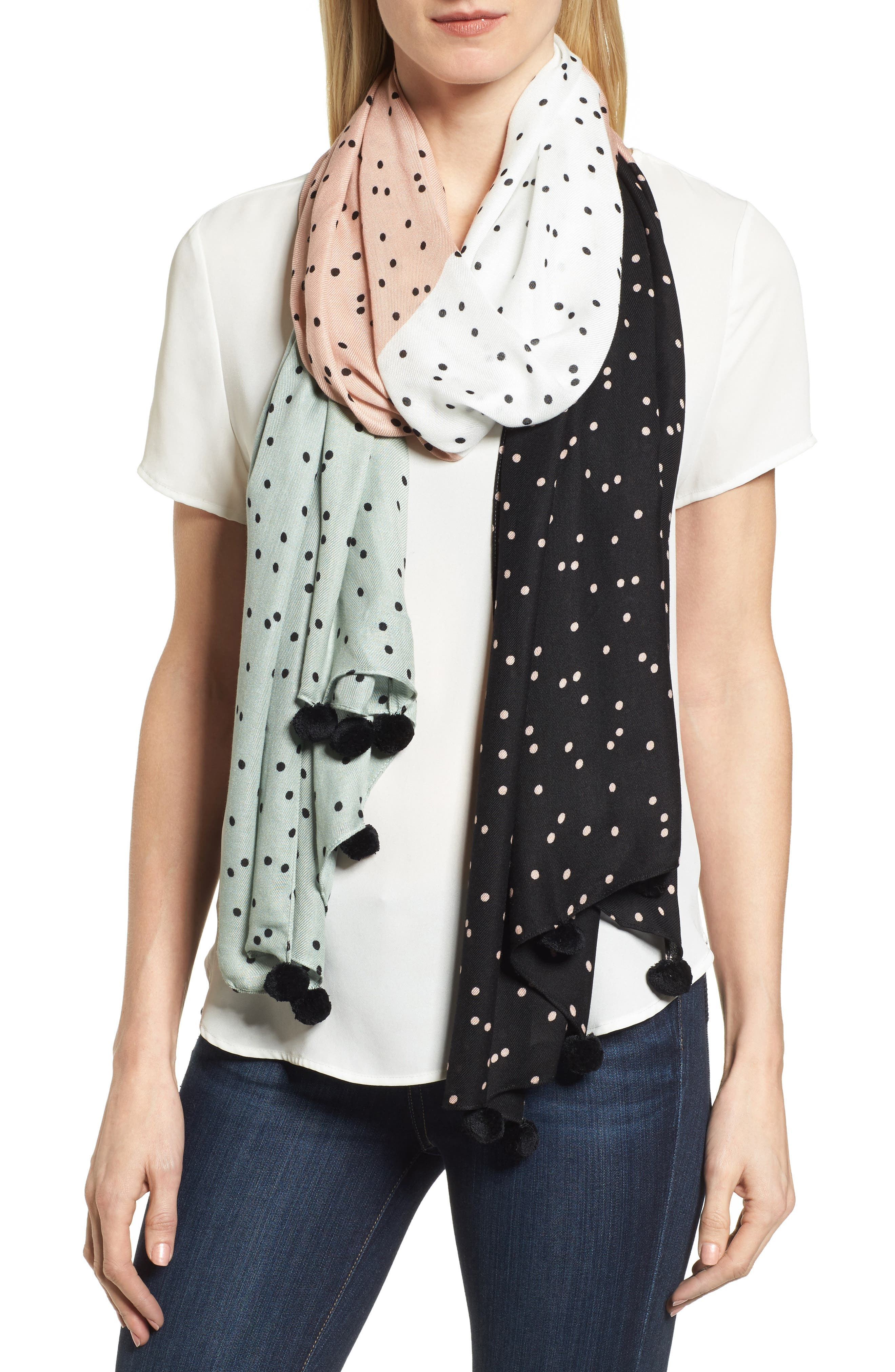 scatter pom scarf,                             Main thumbnail 1, color,                             Black