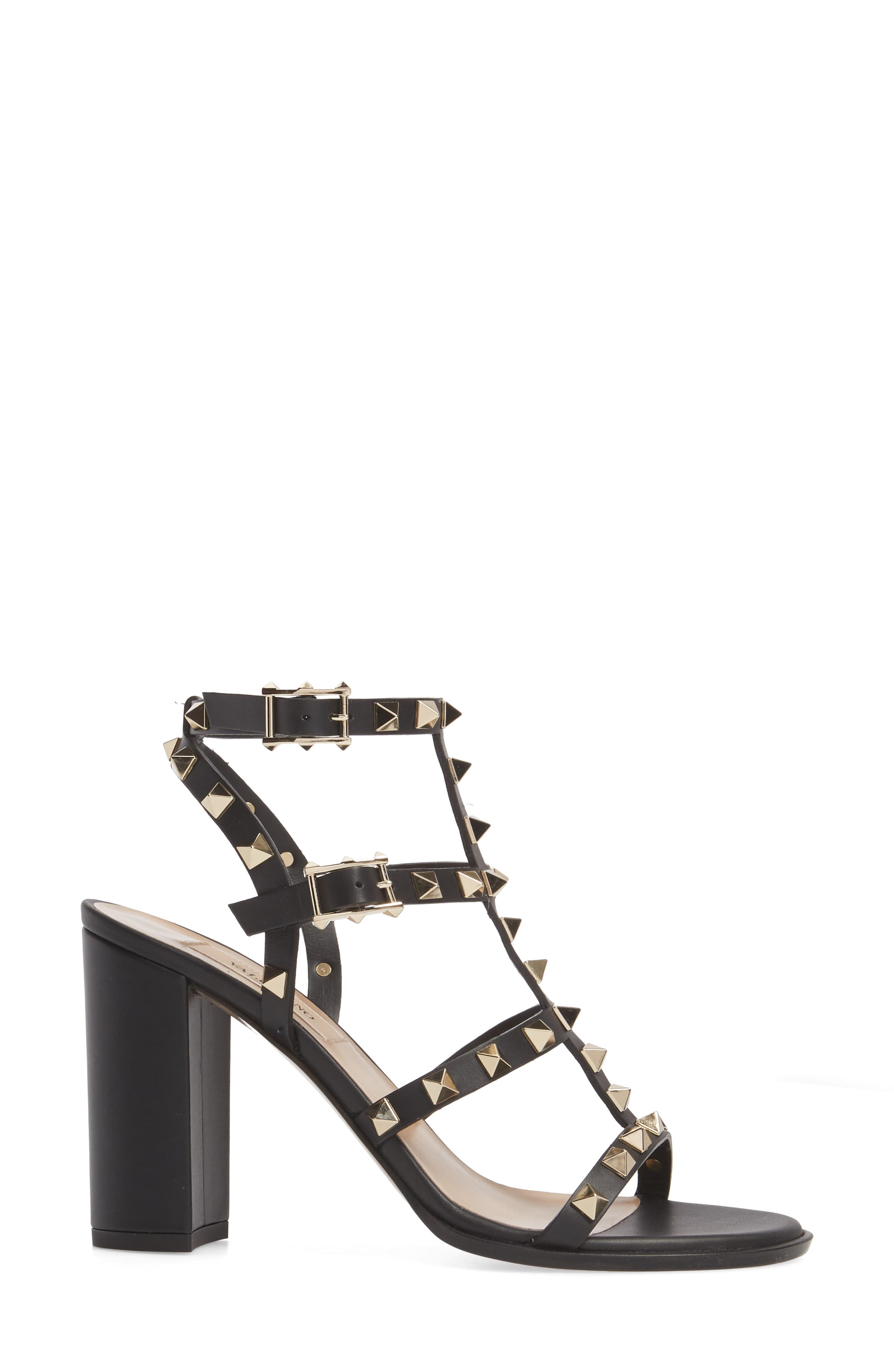 'Rockstud' T-Strap Sandal,                             Alternate thumbnail 3, color,                             Nero