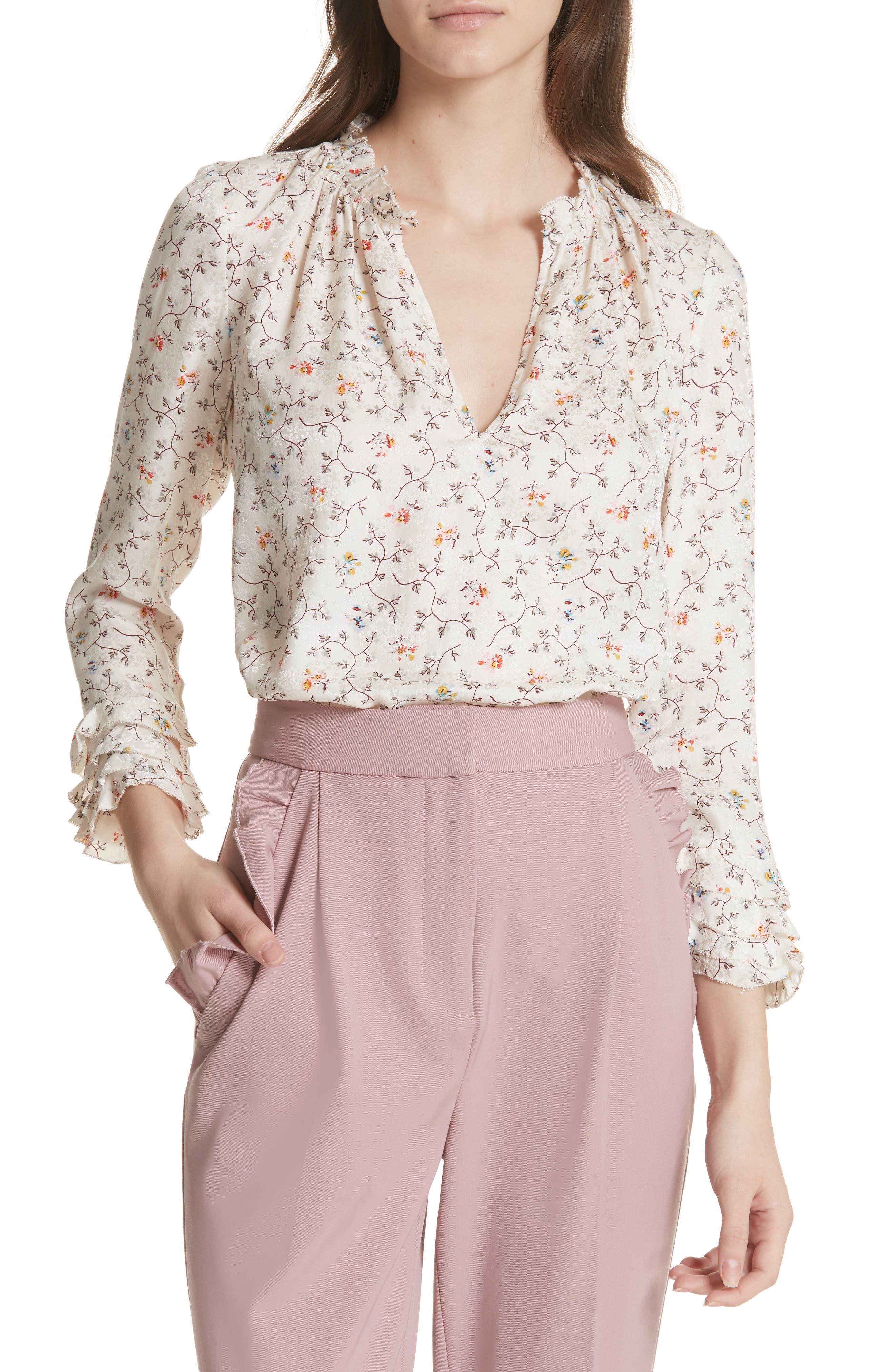 Floral Print Ruffle Silk Top,                         Main,                         color, Vanilla