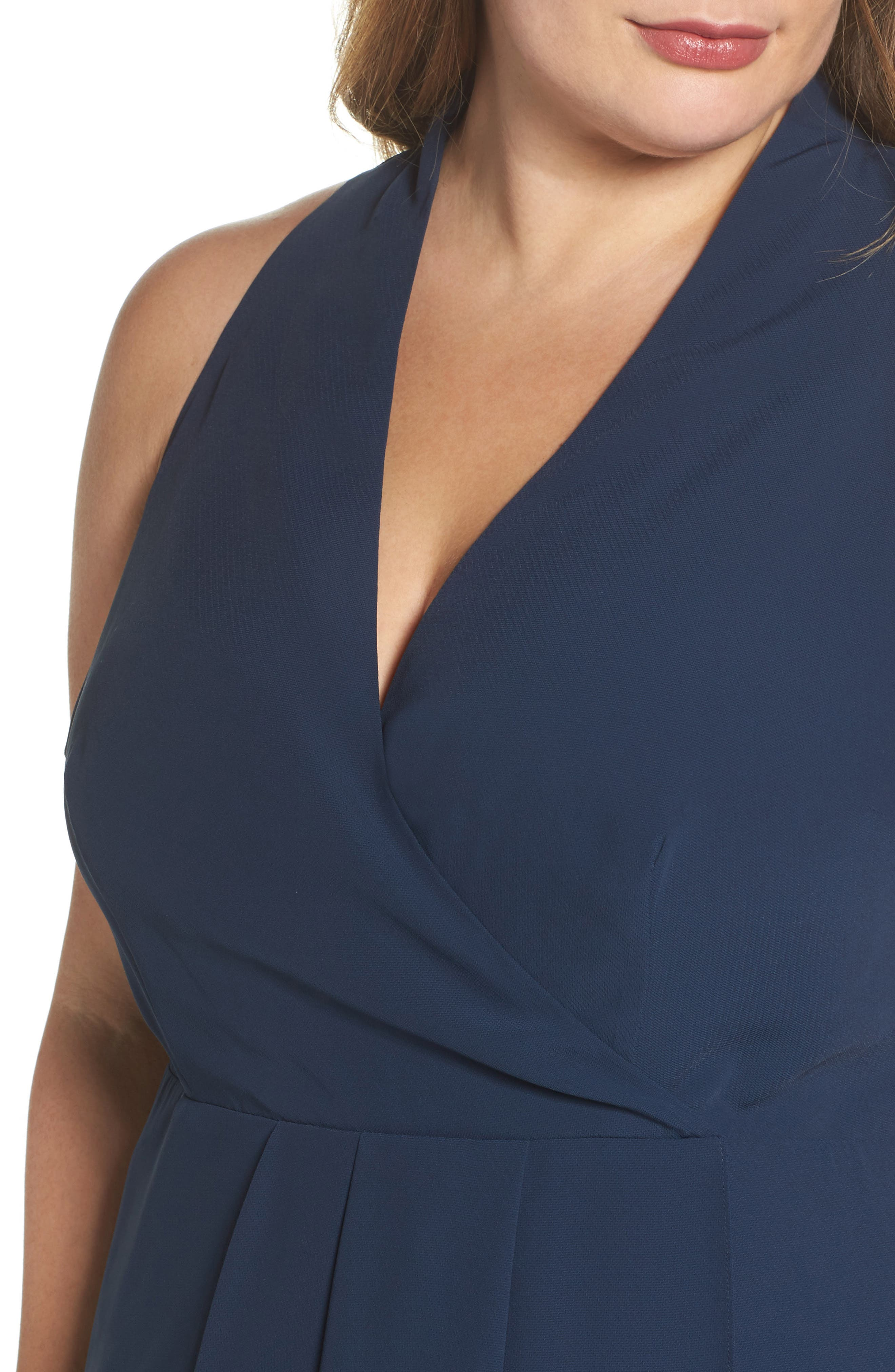 Evening Light Drape Dress,                             Alternate thumbnail 4, color,                             Iron Navy