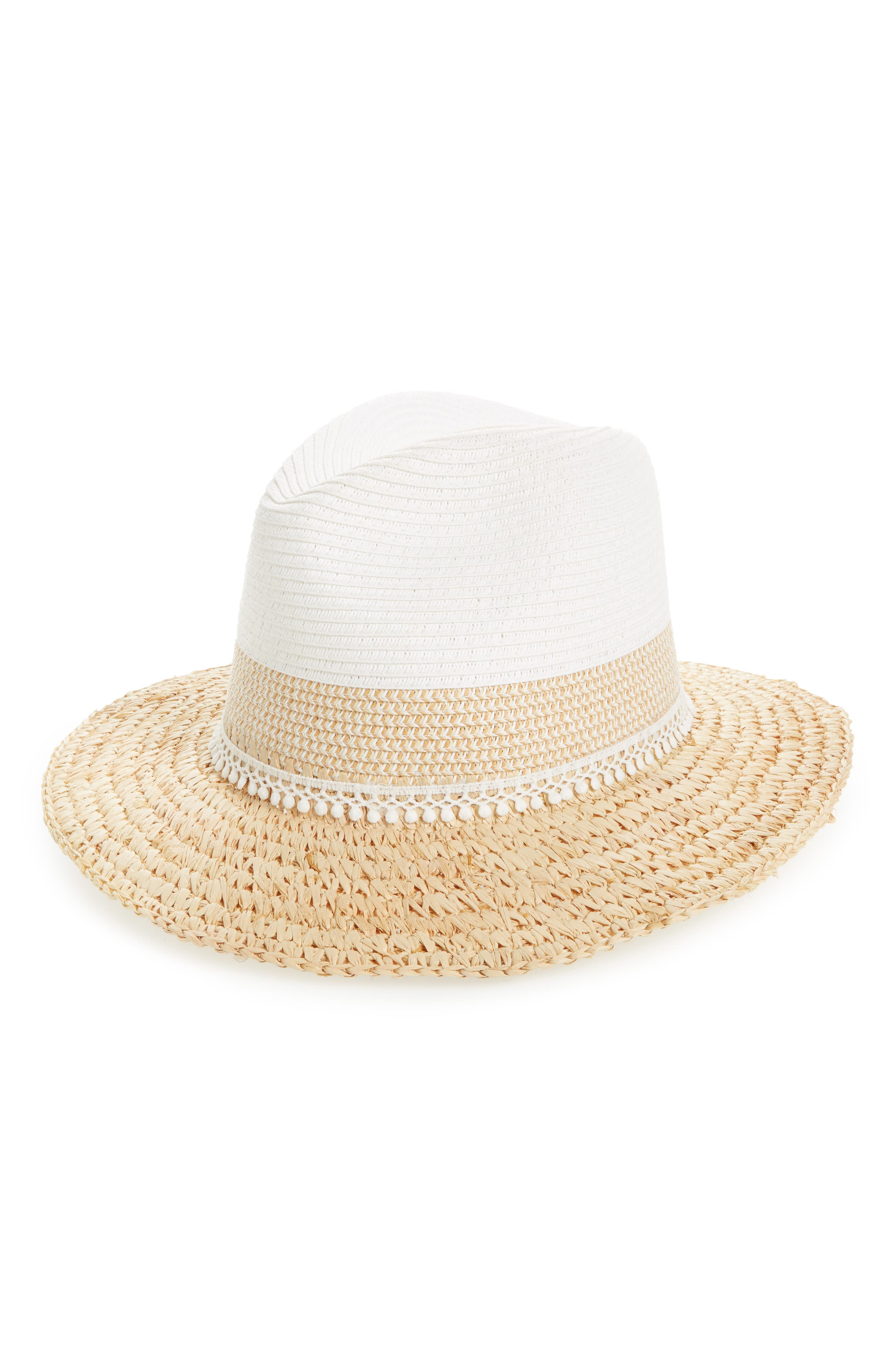 Caslon® Crochet Trim Straw Panama Hat