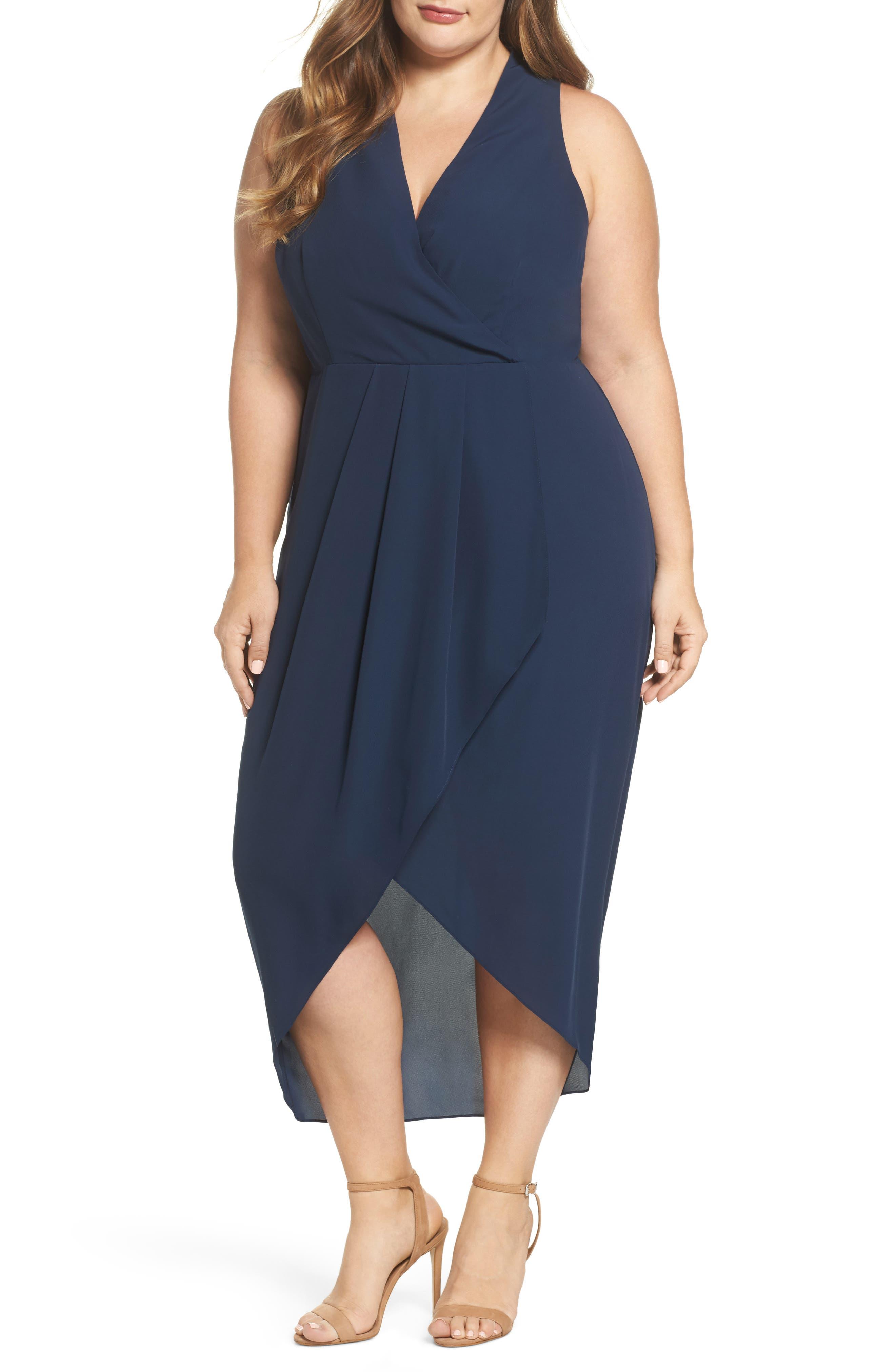 Evening Light Drape Dress,                             Main thumbnail 1, color,                             Iron Navy