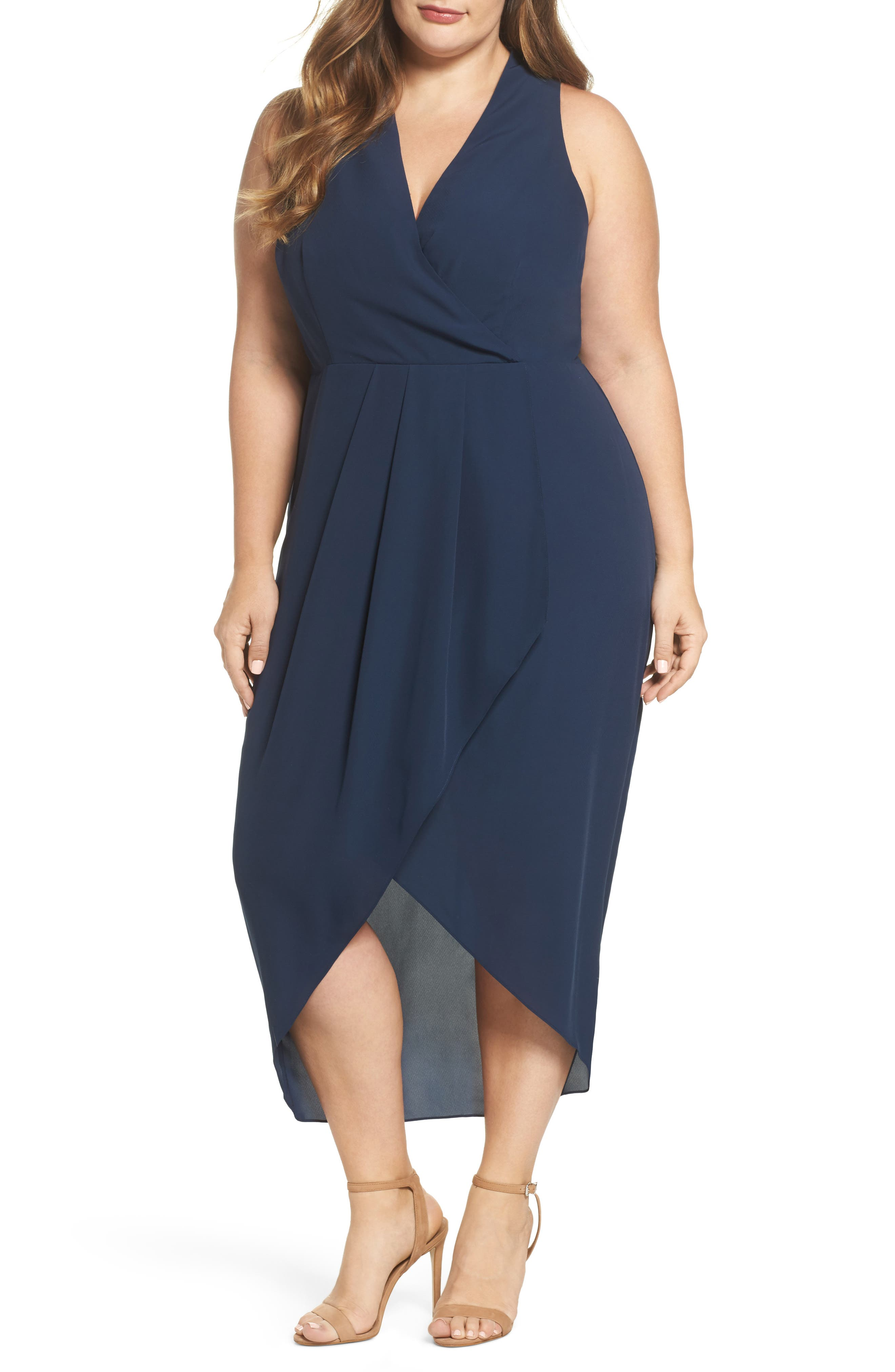 Main Image - Cooper St. Evening Light Drape Dress (Plus Size)
