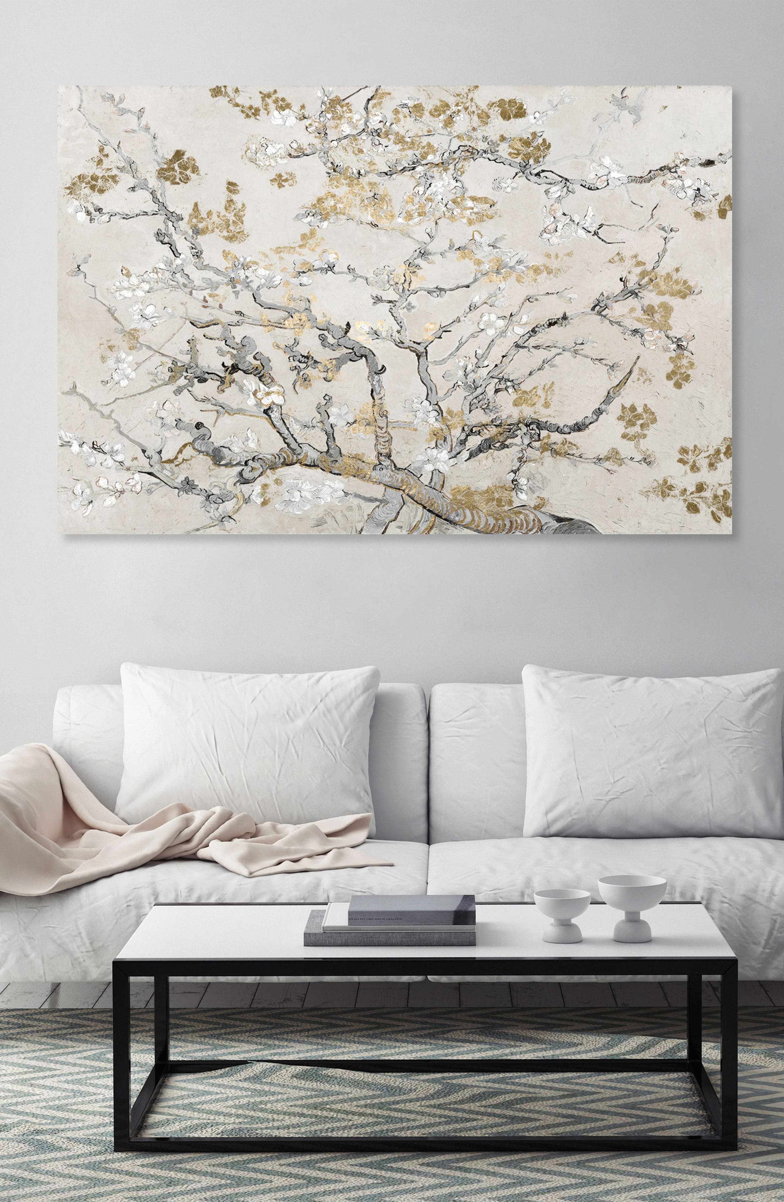 Gold Blossoms Canvas Wall Art,                             Alternate thumbnail 2, color,                             Beige