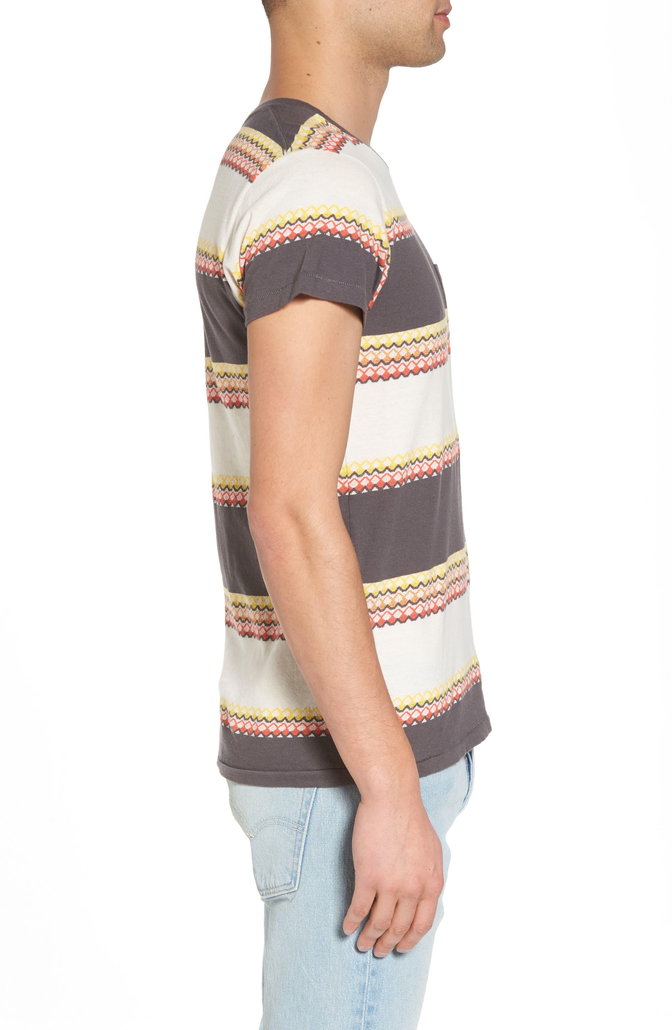 1950s Sportswear Pocket T-Shirt,                             Alternate thumbnail 3, color,                             Wave Jacquard Blue Multi