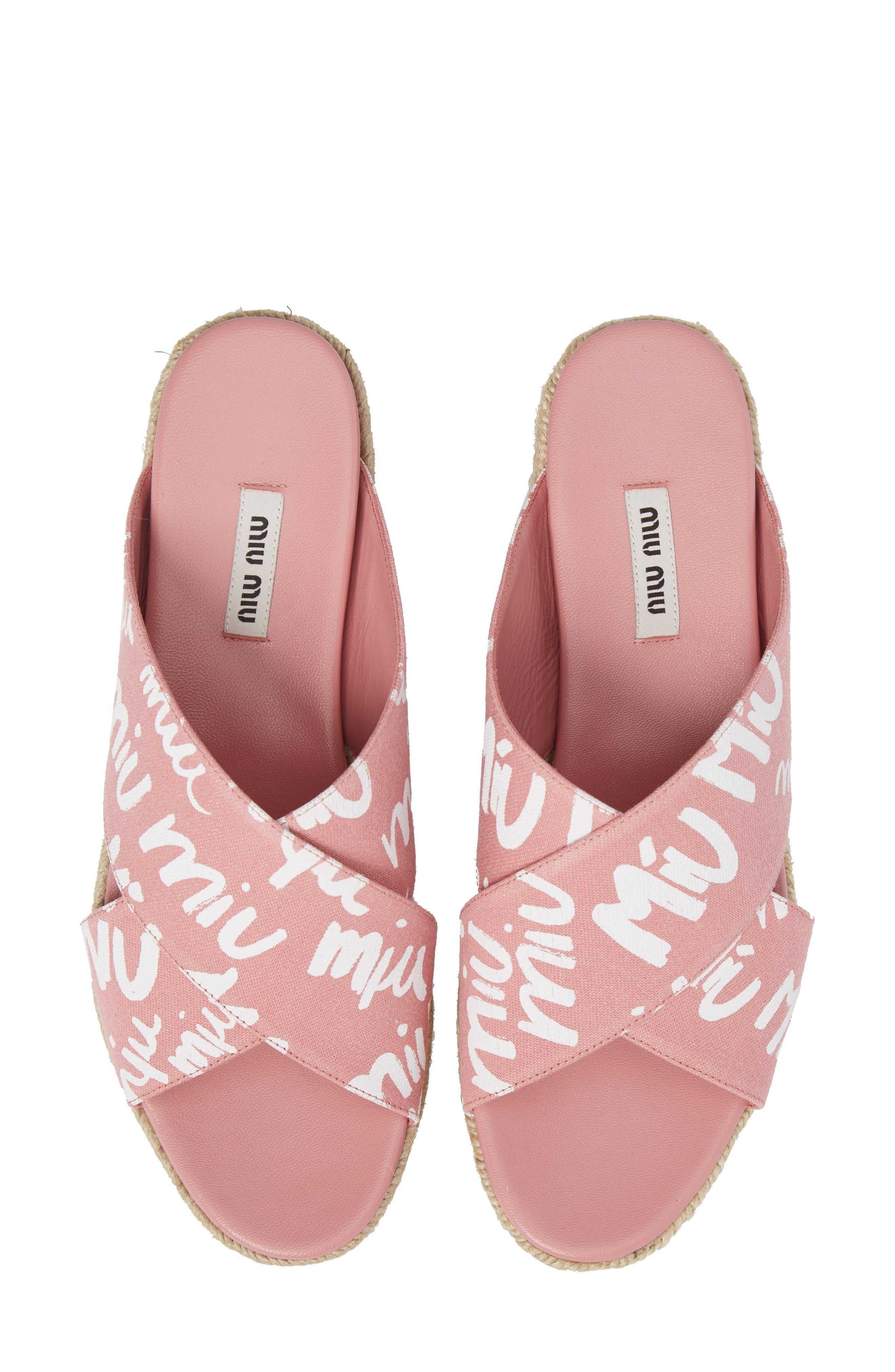 Logo Platform Espadrille Sandal,                             Alternate thumbnail 5, color,                             Pink