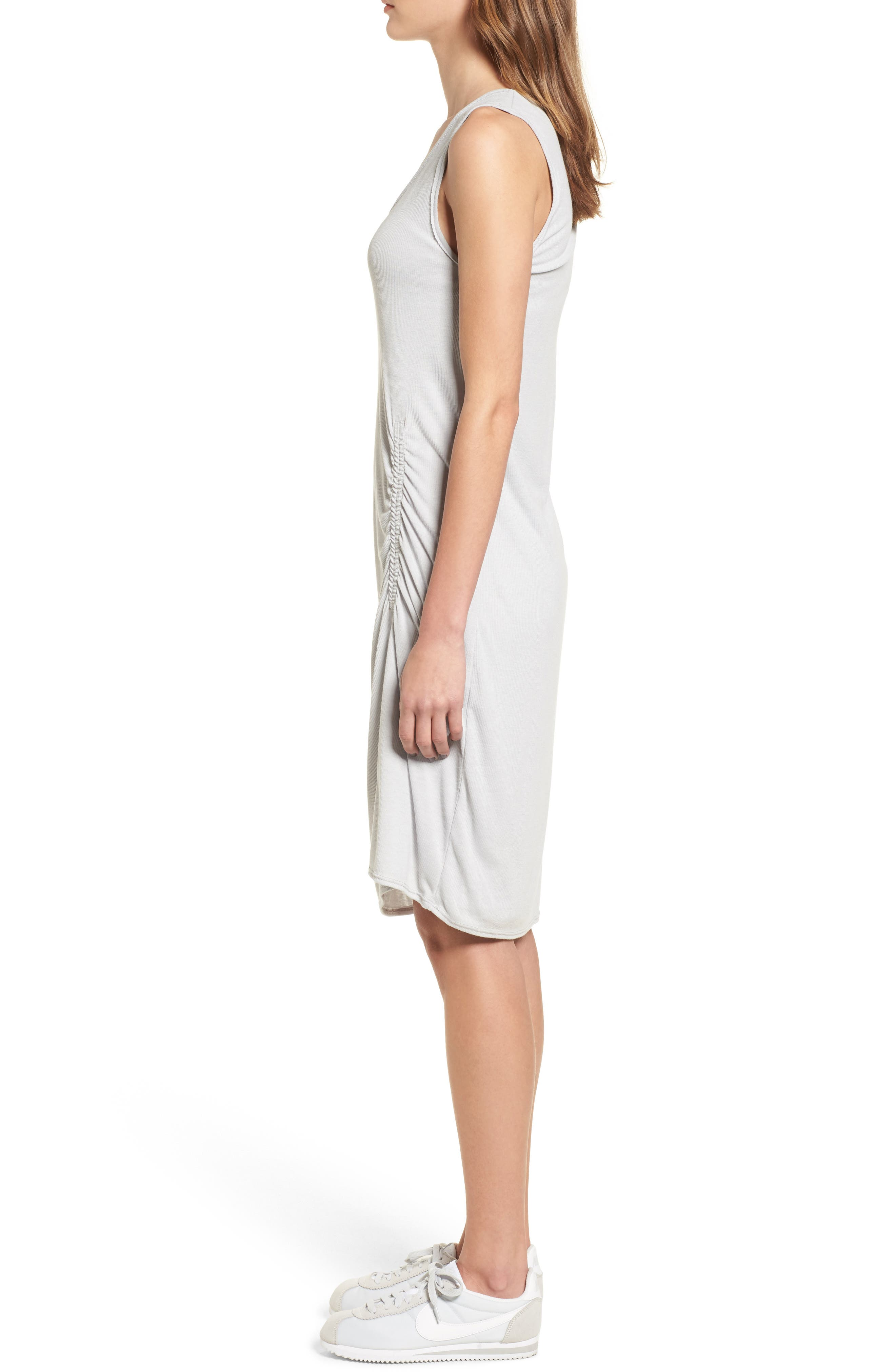 Ruched Rib Knit Dress,                             Alternate thumbnail 3, color,                             Heather Grey