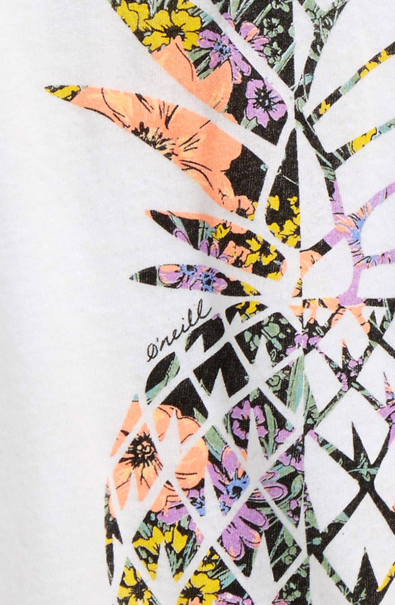 Pineapple Garden Graphic Tee,                             Alternate thumbnail 3, color,                             White - Wht
