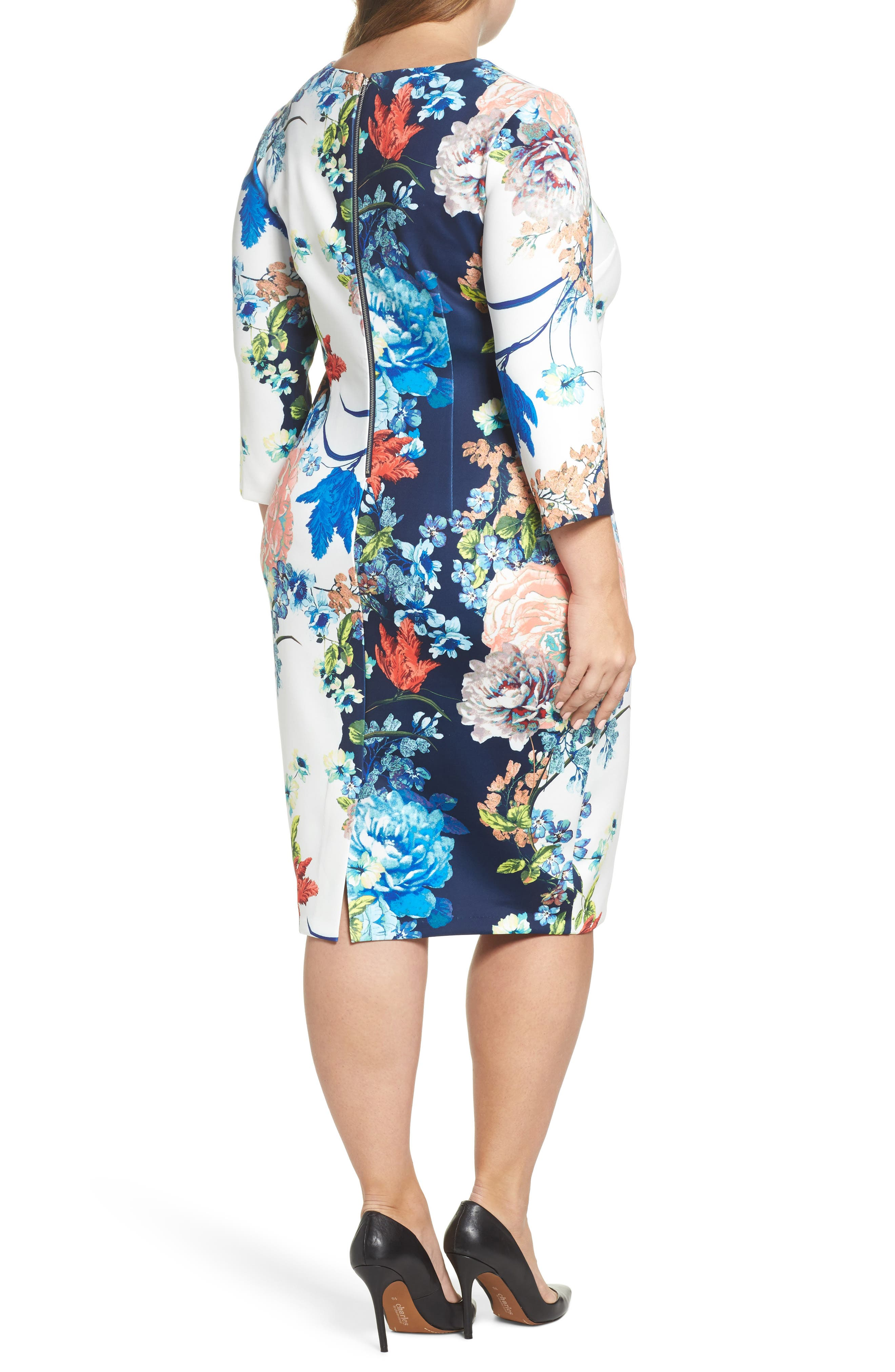 Floral Jersey Sheath Dress,                             Alternate thumbnail 2, color,                             Navy Blue