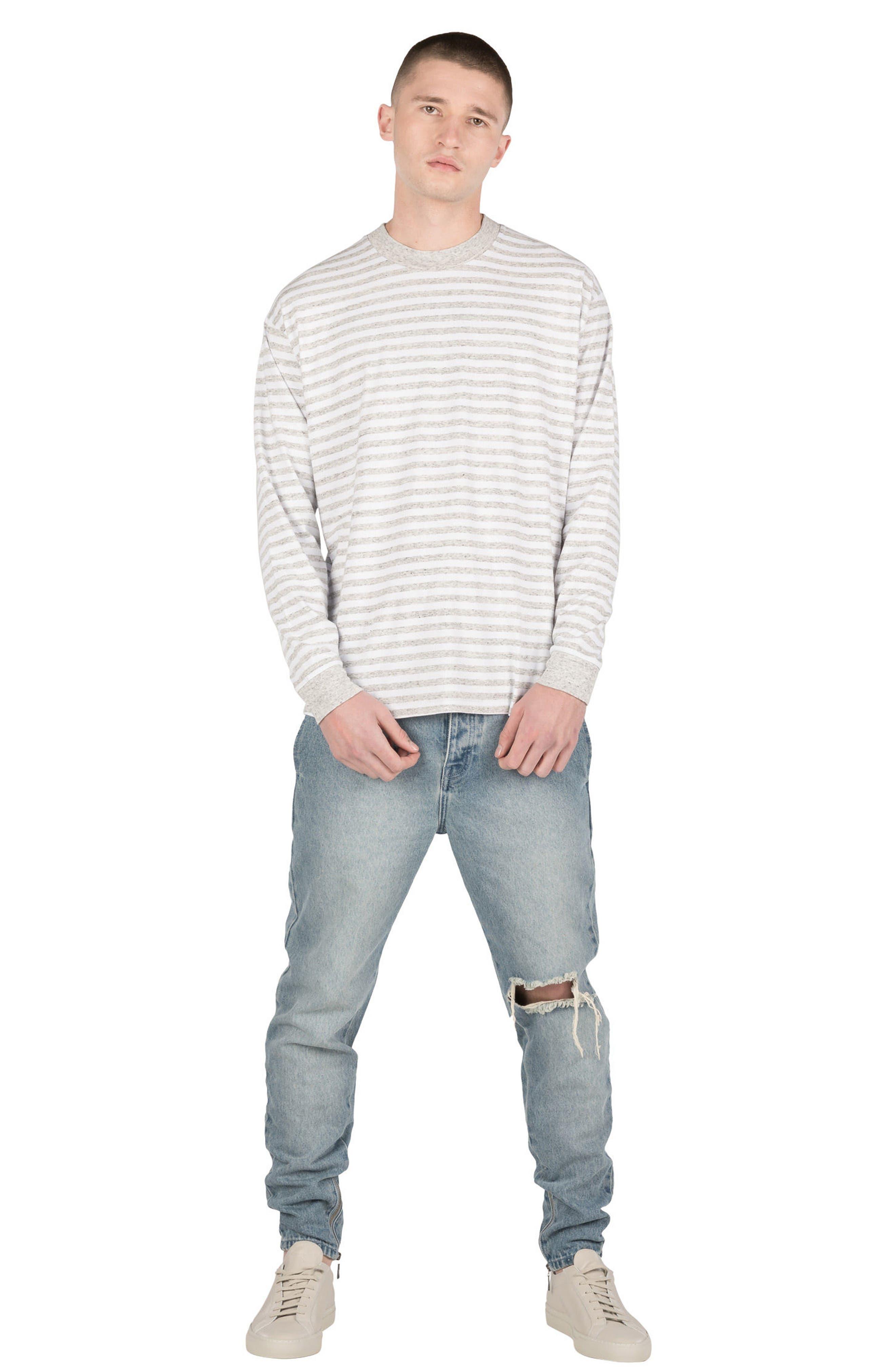 Box Long Sleeve T-Shirt,                             Alternate thumbnail 5, color,                             White/ Storm Marle