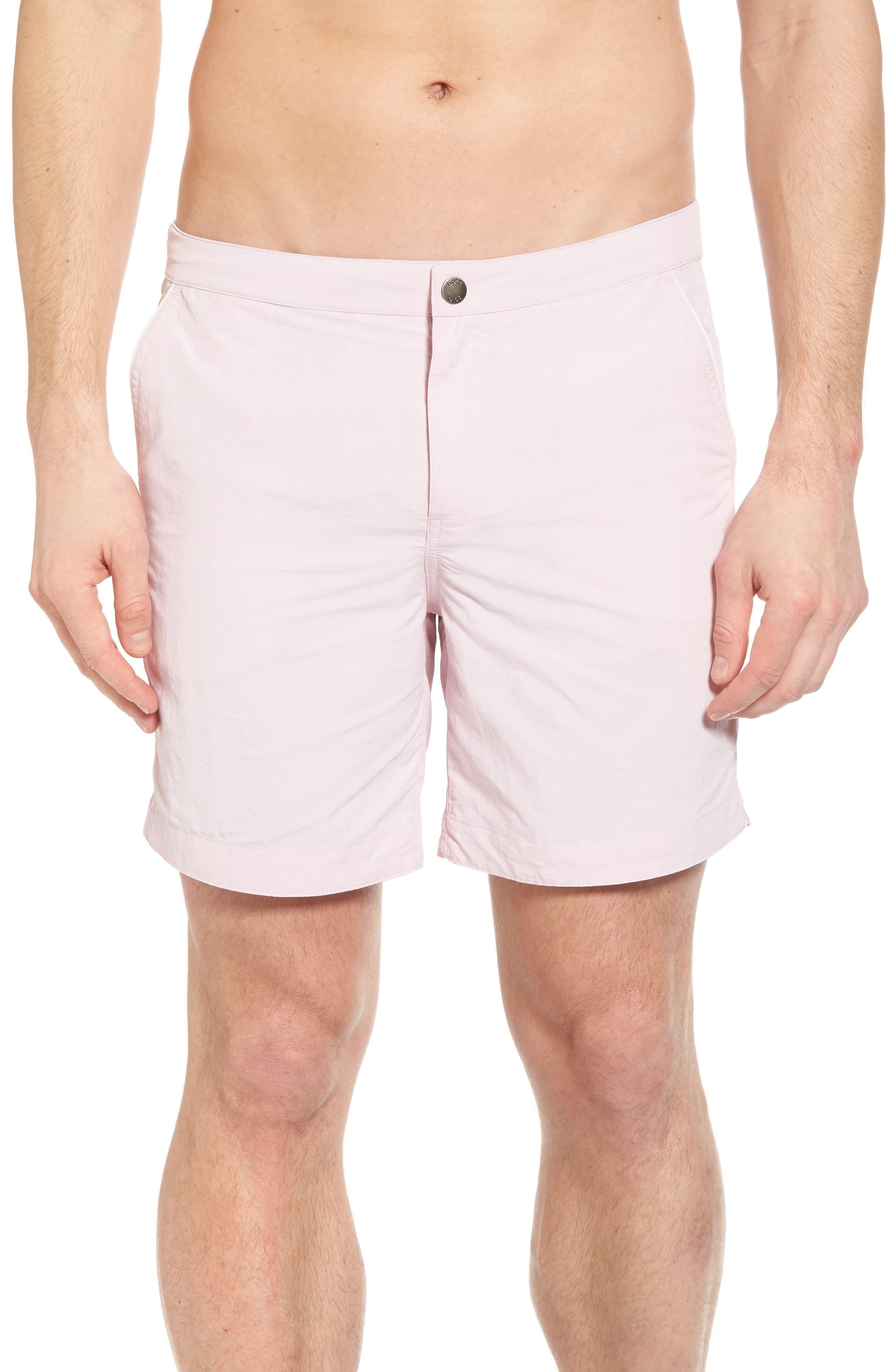 Rio Regular Fit Swim Trunks,                             Main thumbnail 1, color,                             Pastel Pink Solid