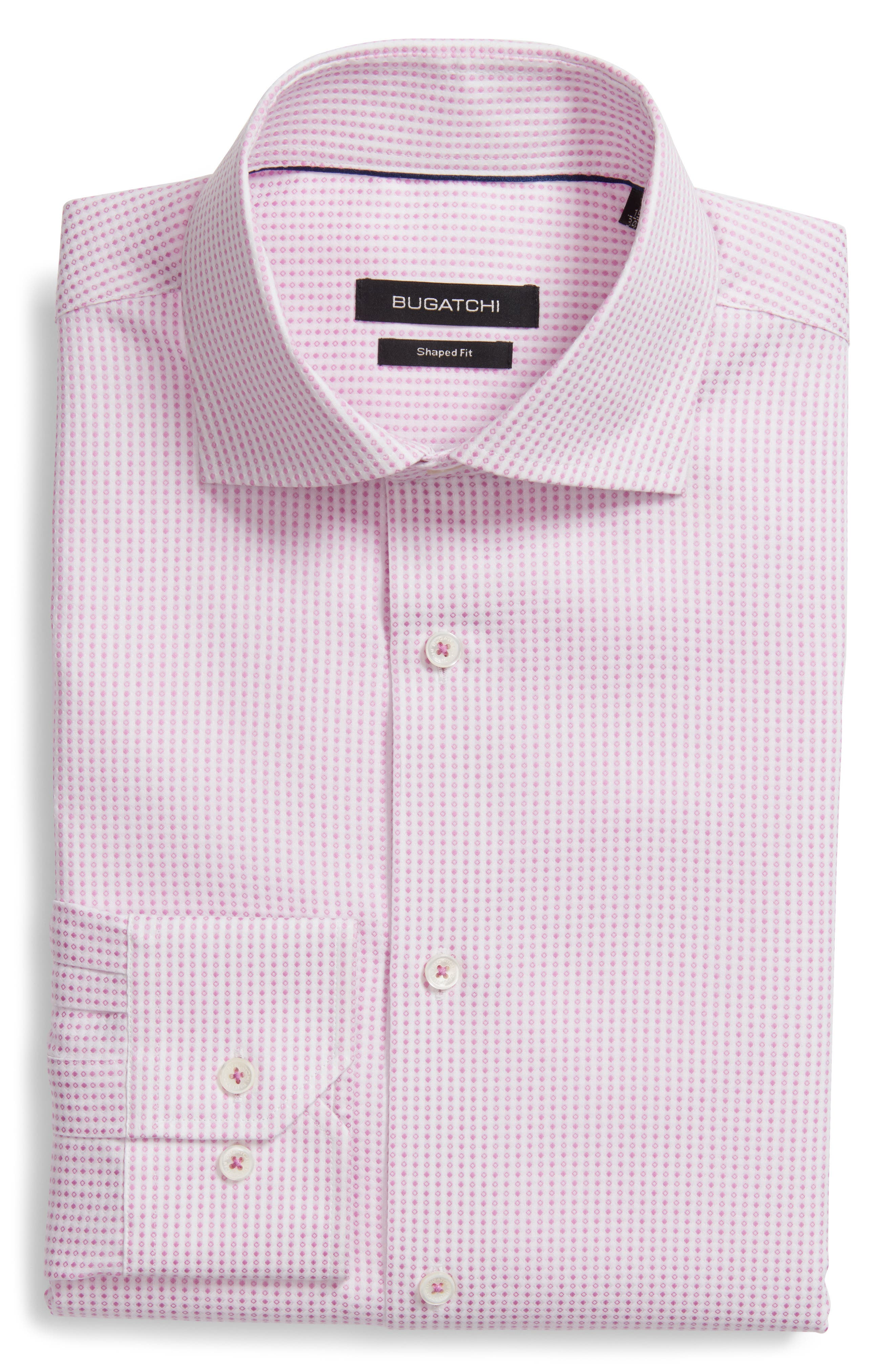 Shaped Fit Geometric Dress Shirt,                             Main thumbnail 1, color,                             Pink