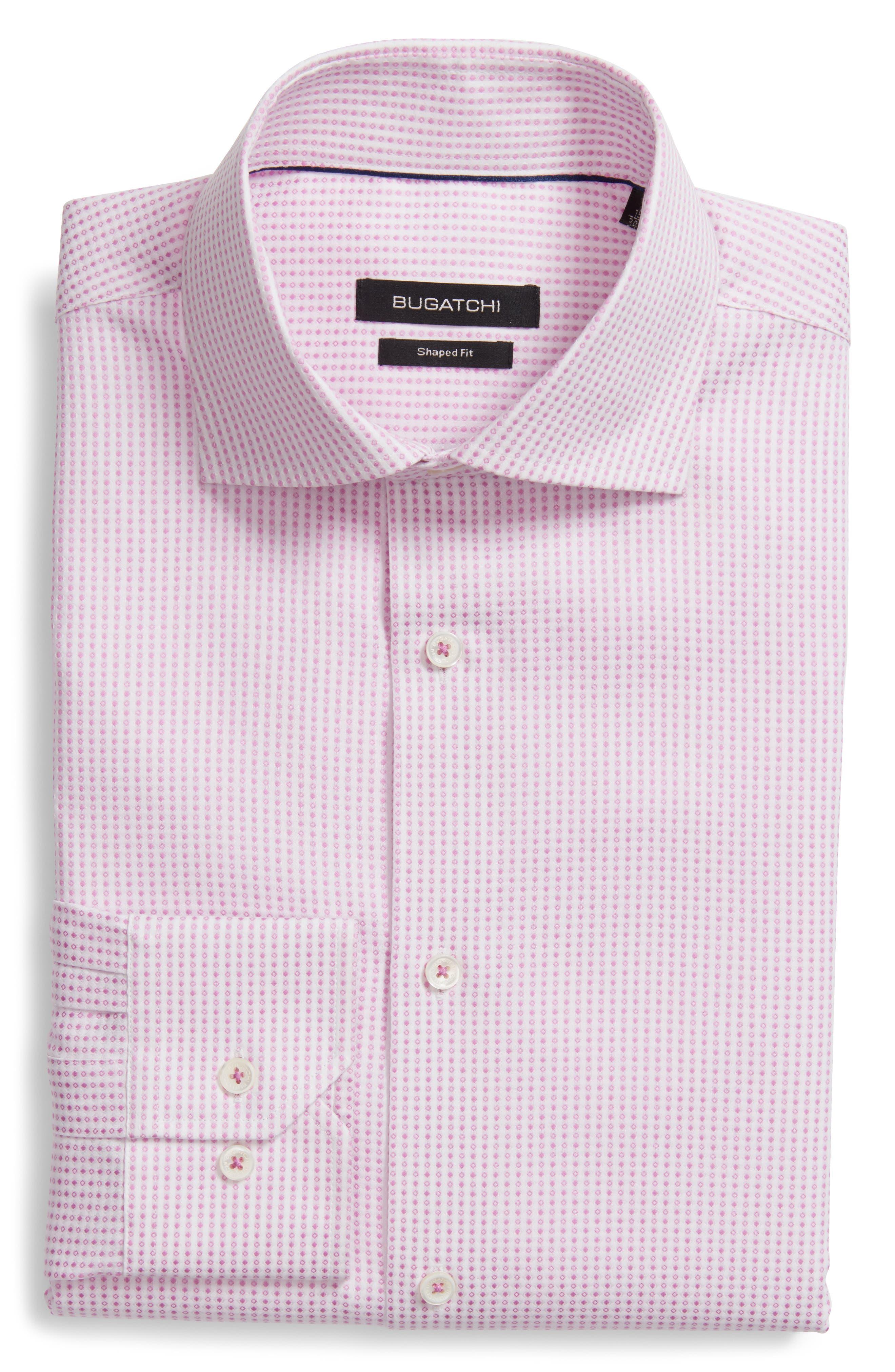 Shaped Fit Geometric Dress Shirt,                         Main,                         color, Pink