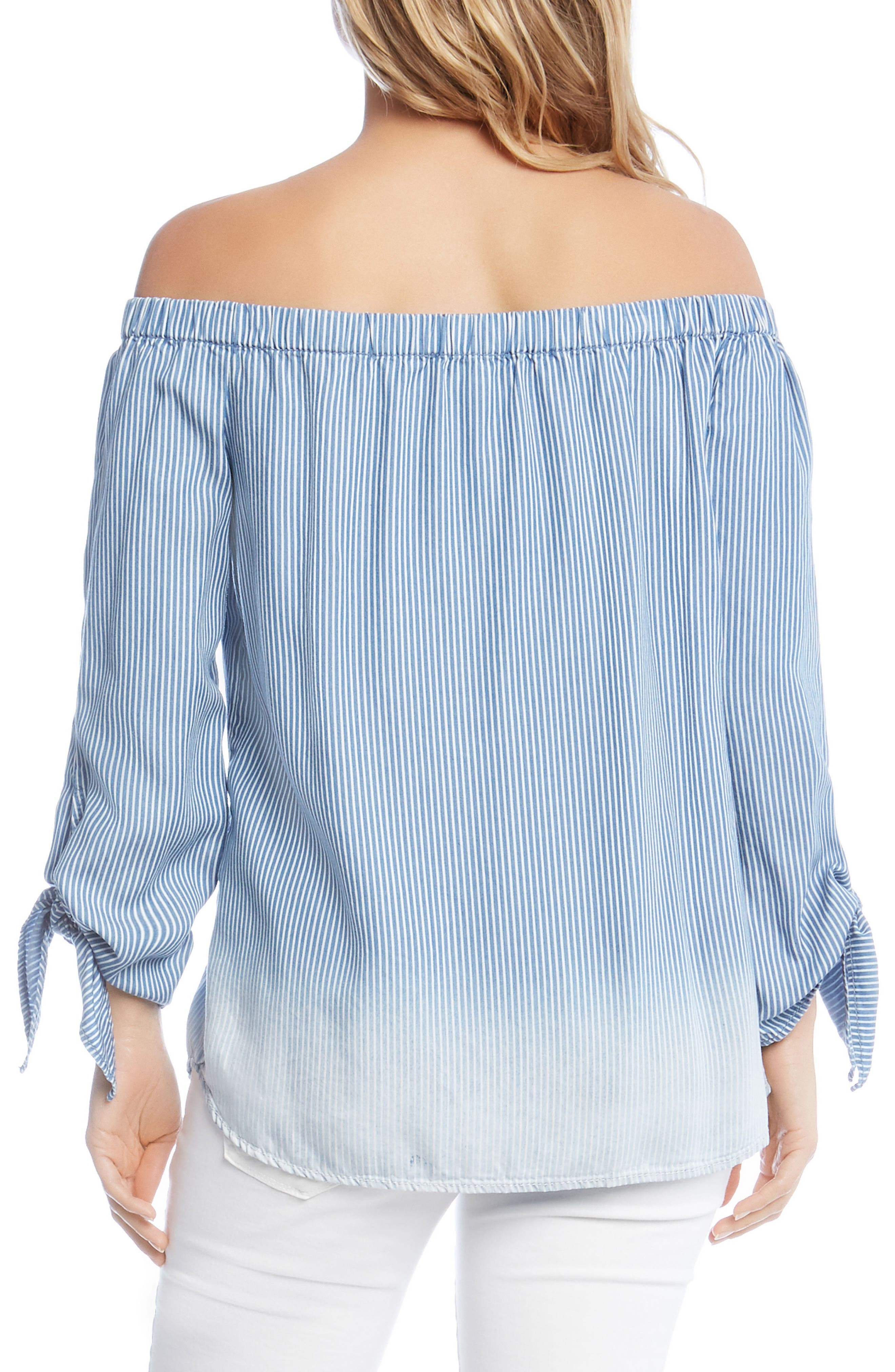 Off the Shoulder Stripe Tie Sleeve Top,                             Alternate thumbnail 2, color,                             Striped
