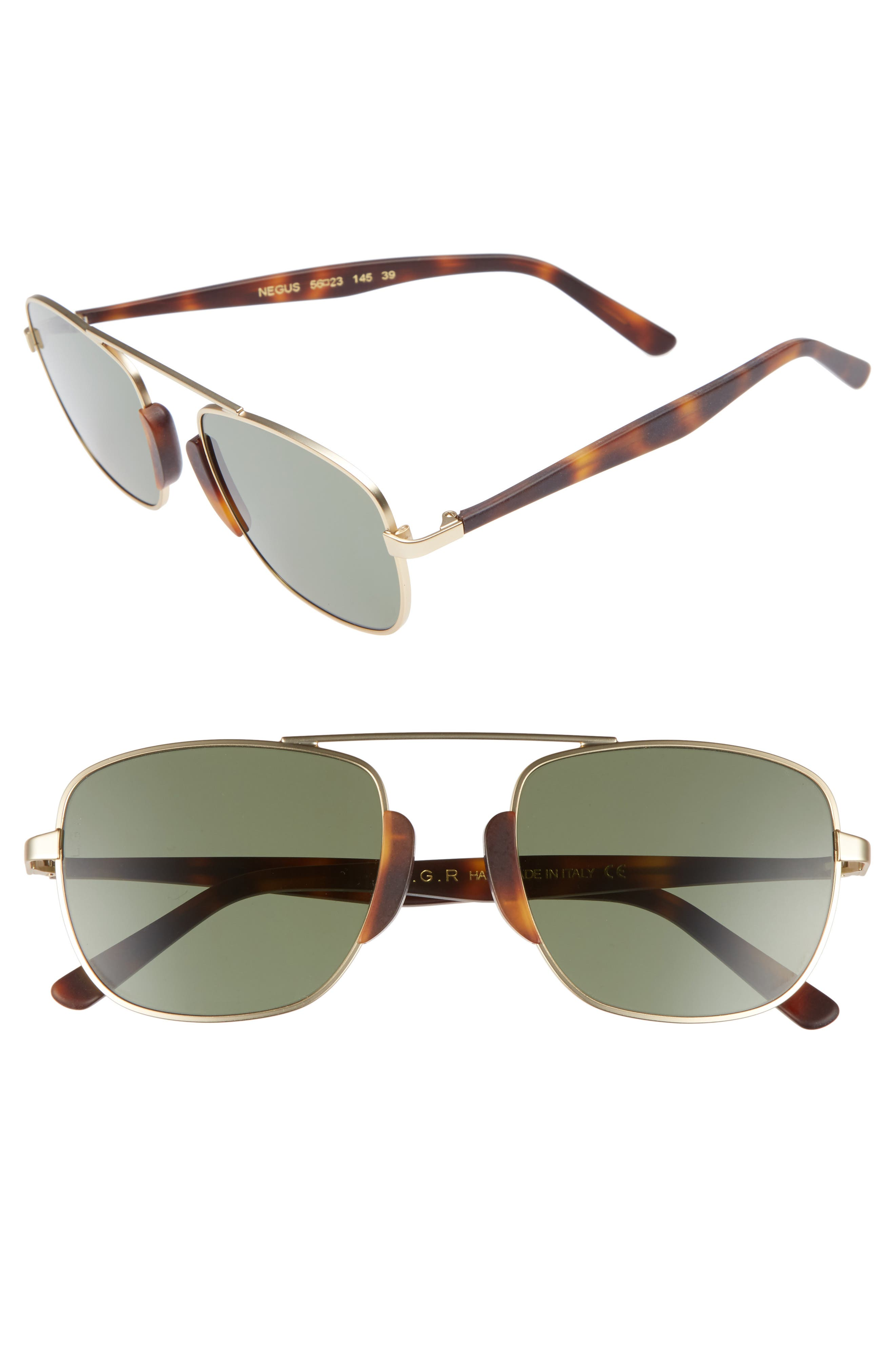 Negus 56mm Sunglasses,                             Main thumbnail 1, color,                             Gold Matte/ Brown/ Green