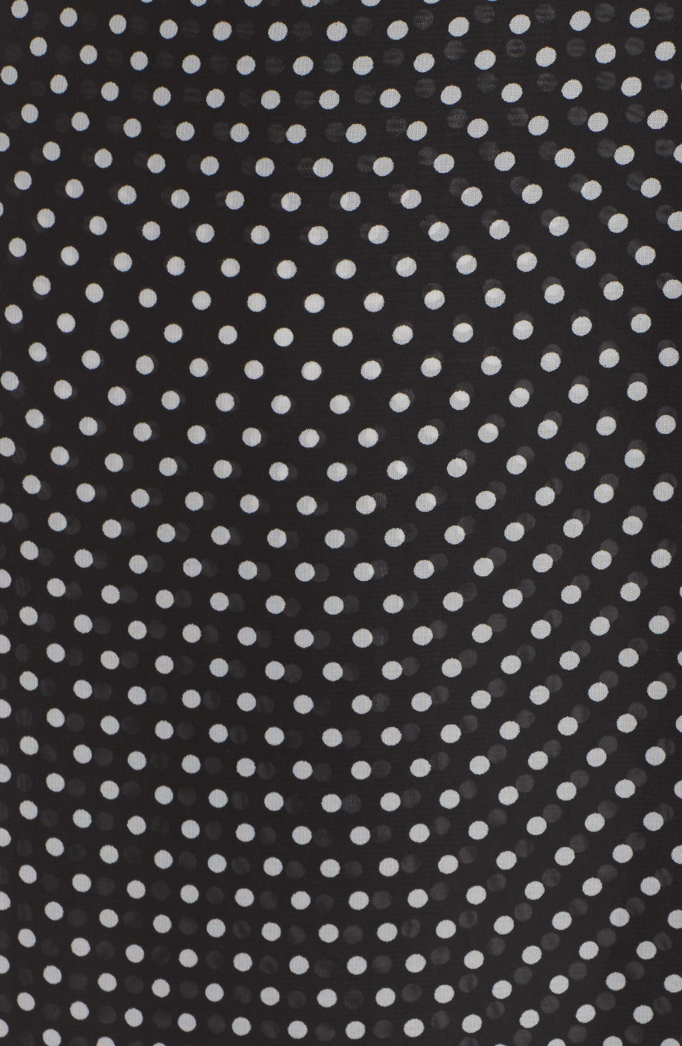 Polka Dot Faux Wrap Ruffle Dress,                             Alternate thumbnail 5, color,                             Black/ Ivory