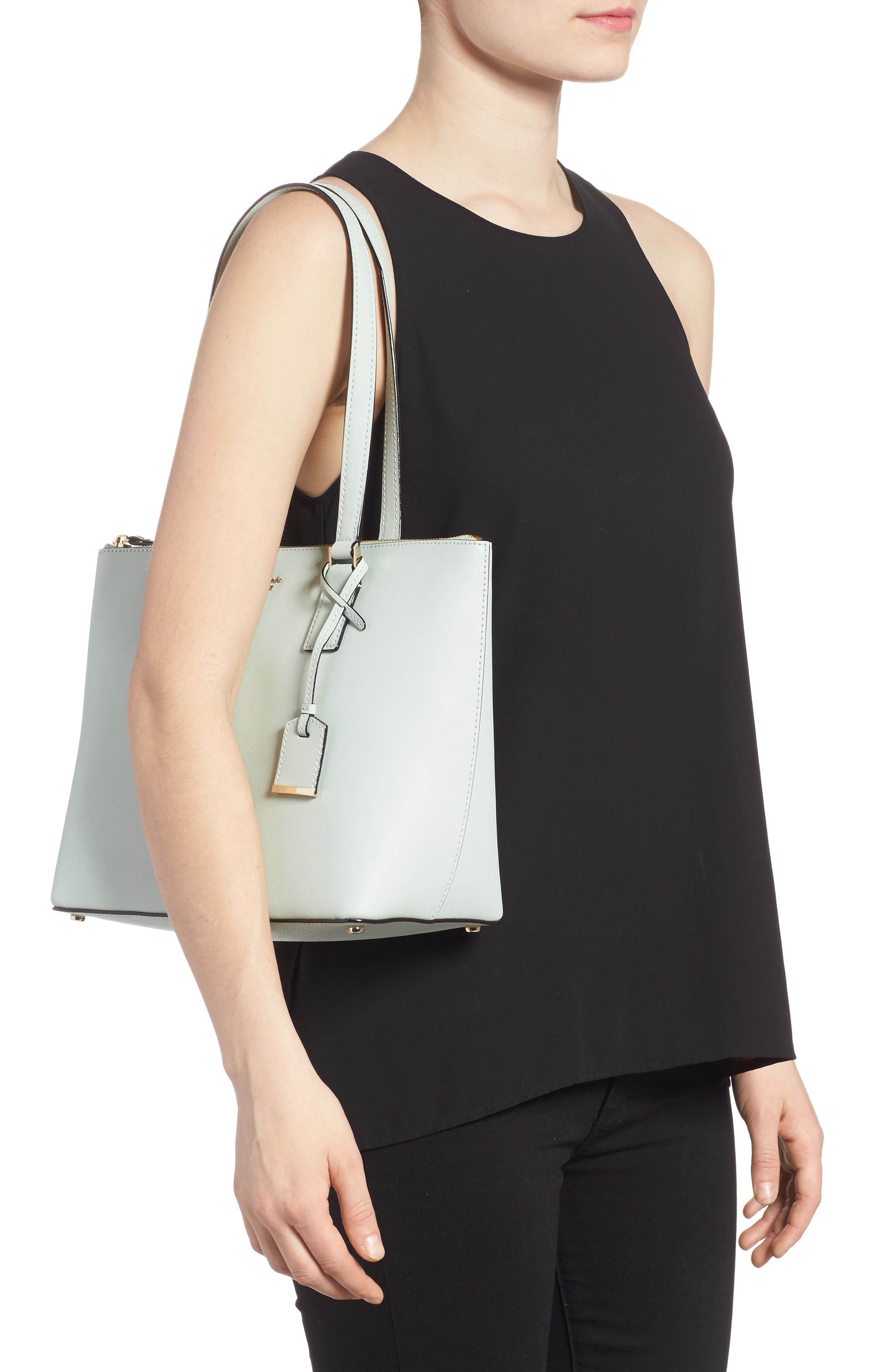 cameron street - small lucie leather tote,                             Alternate thumbnail 2, color,                             Misty Mint