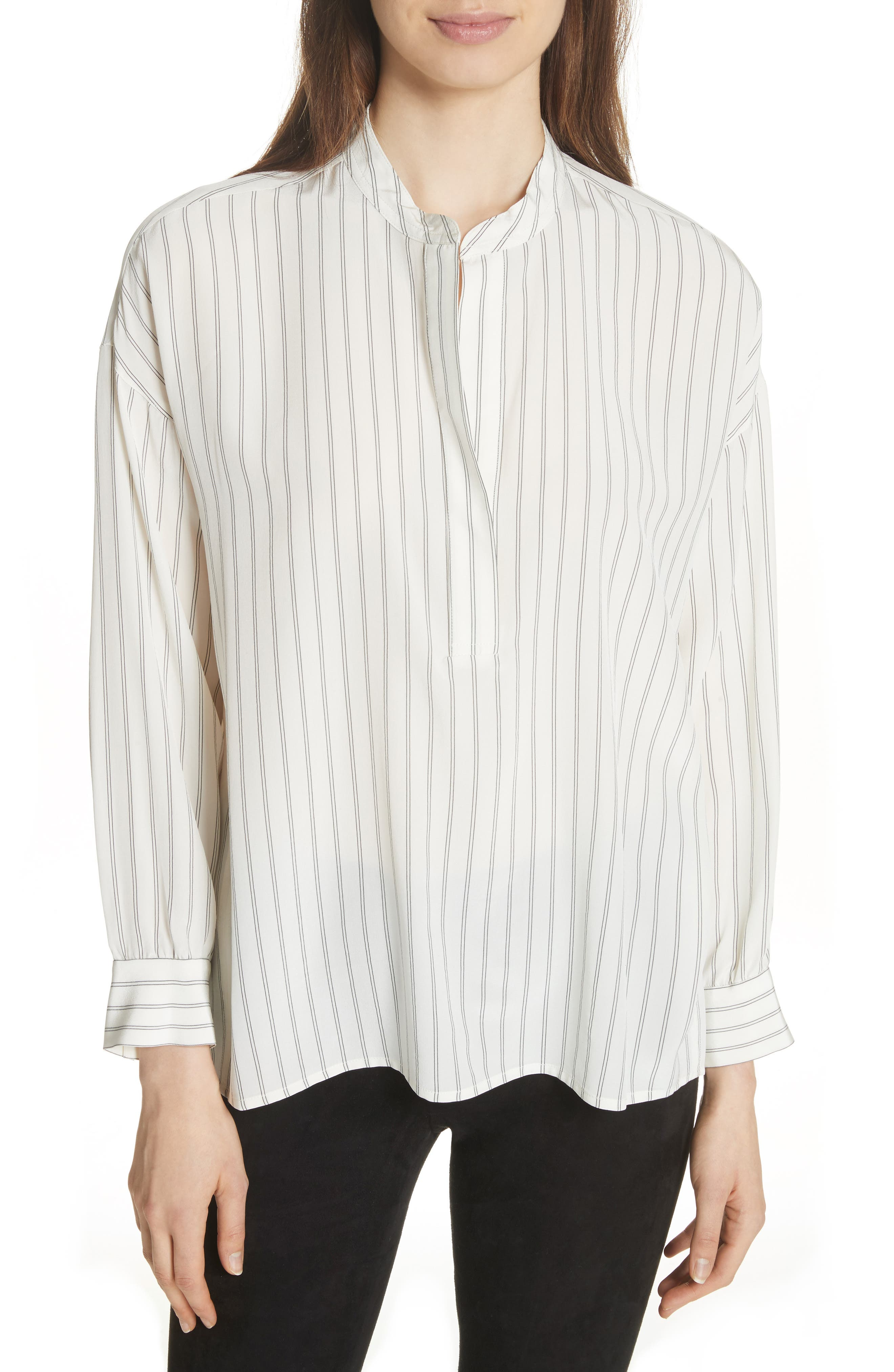 Double Stripe Silk Pullover,                             Main thumbnail 1, color,                             Cream