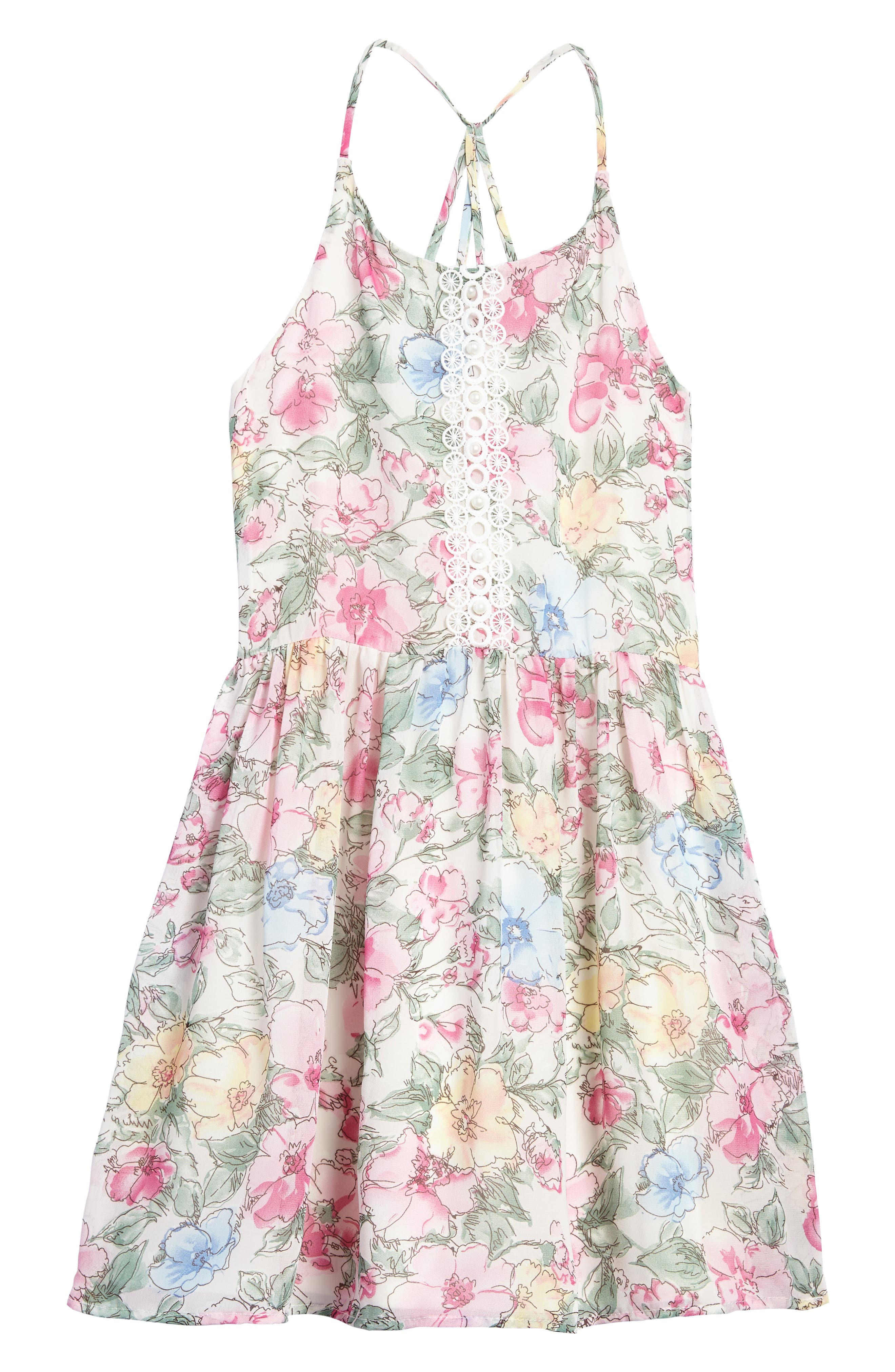 Painted Floral Dress,                         Main,                         color, Pink Multi