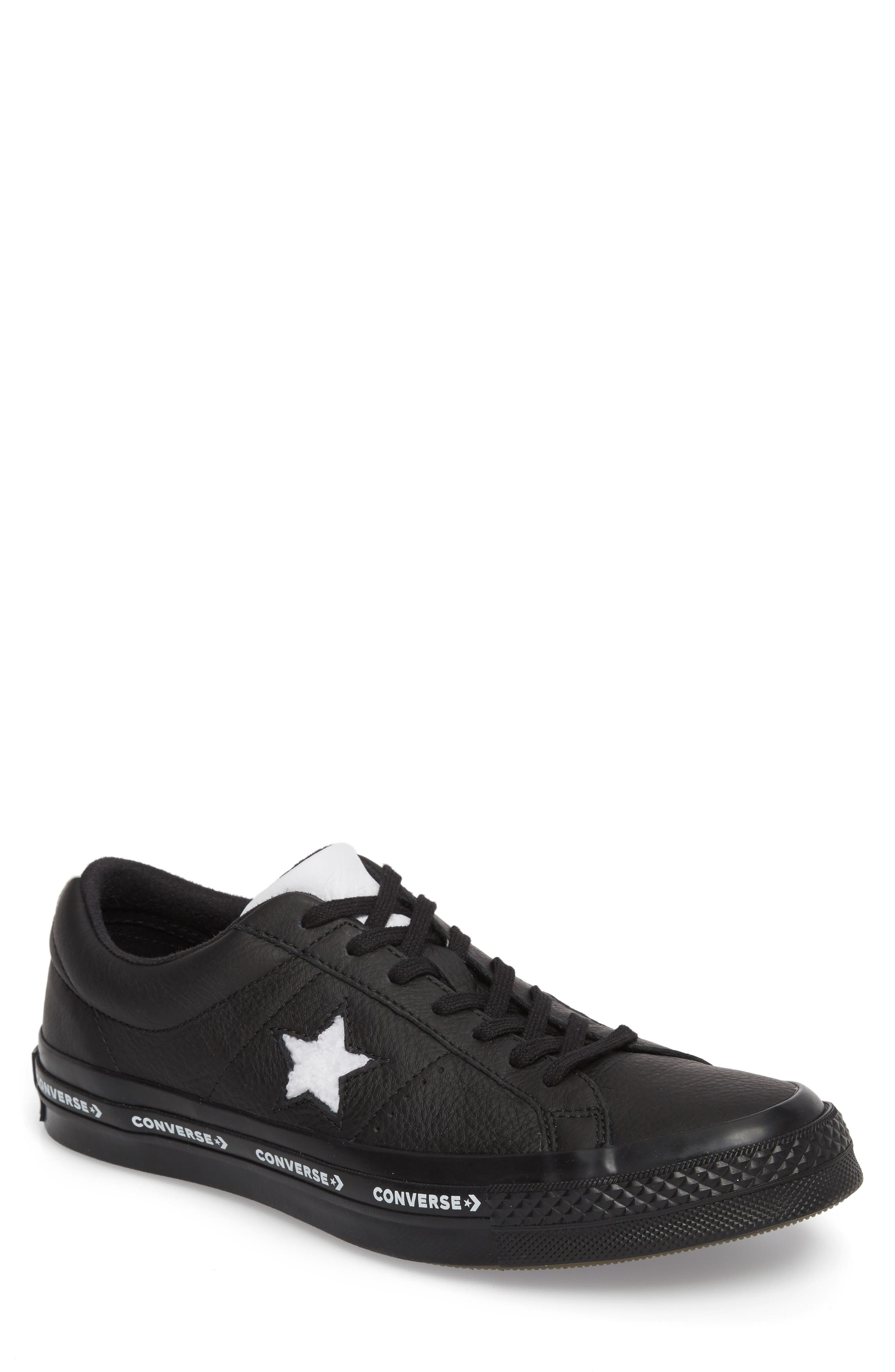 Chuck Taylor<sup>®</sup> One Star Pinstripe Sneaker,                             Main thumbnail 1, color,                             Black Leather