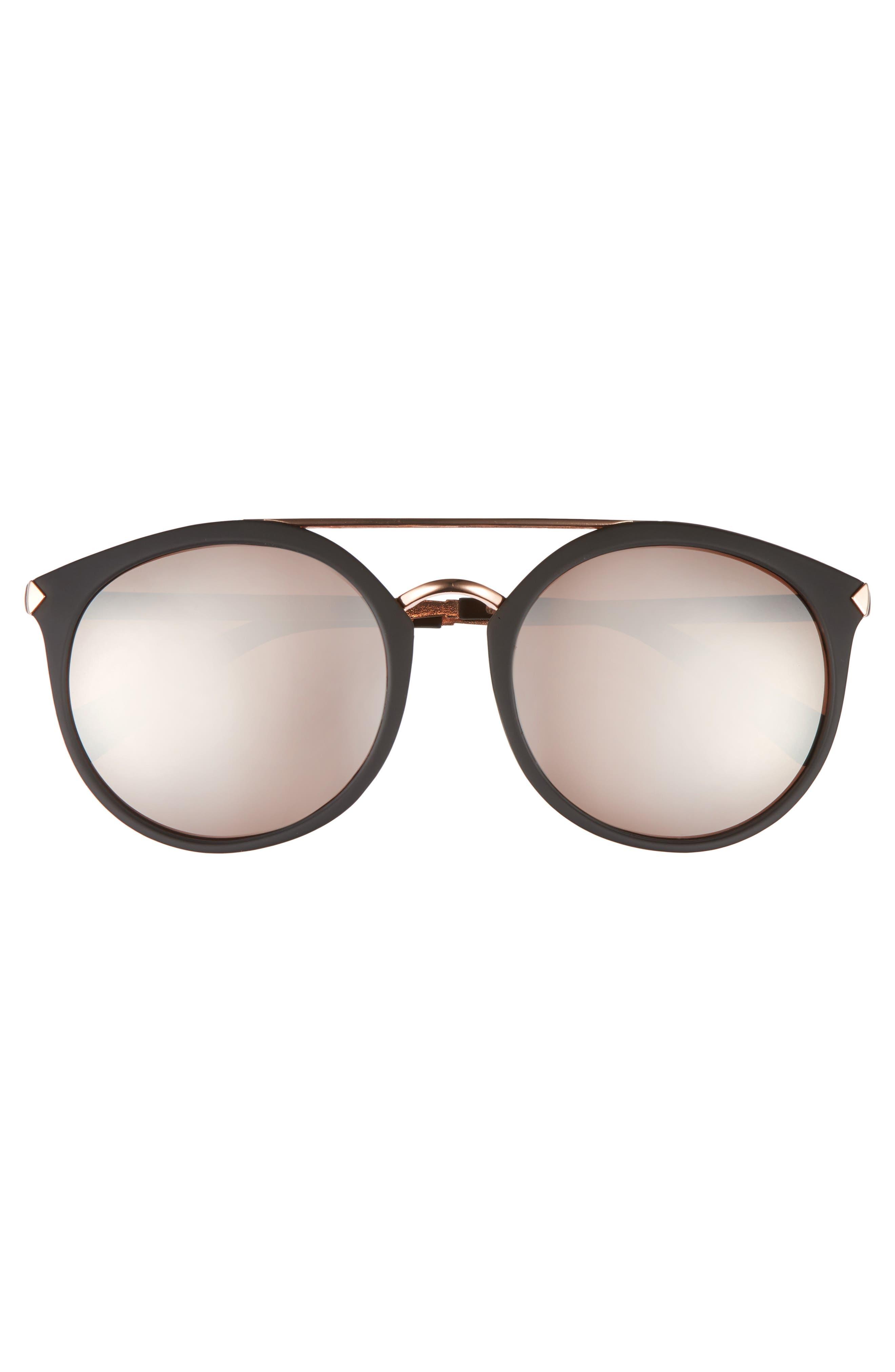 55mm Mirrored Sunglasses,                             Alternate thumbnail 3, color,                             Black/ Rose Gold