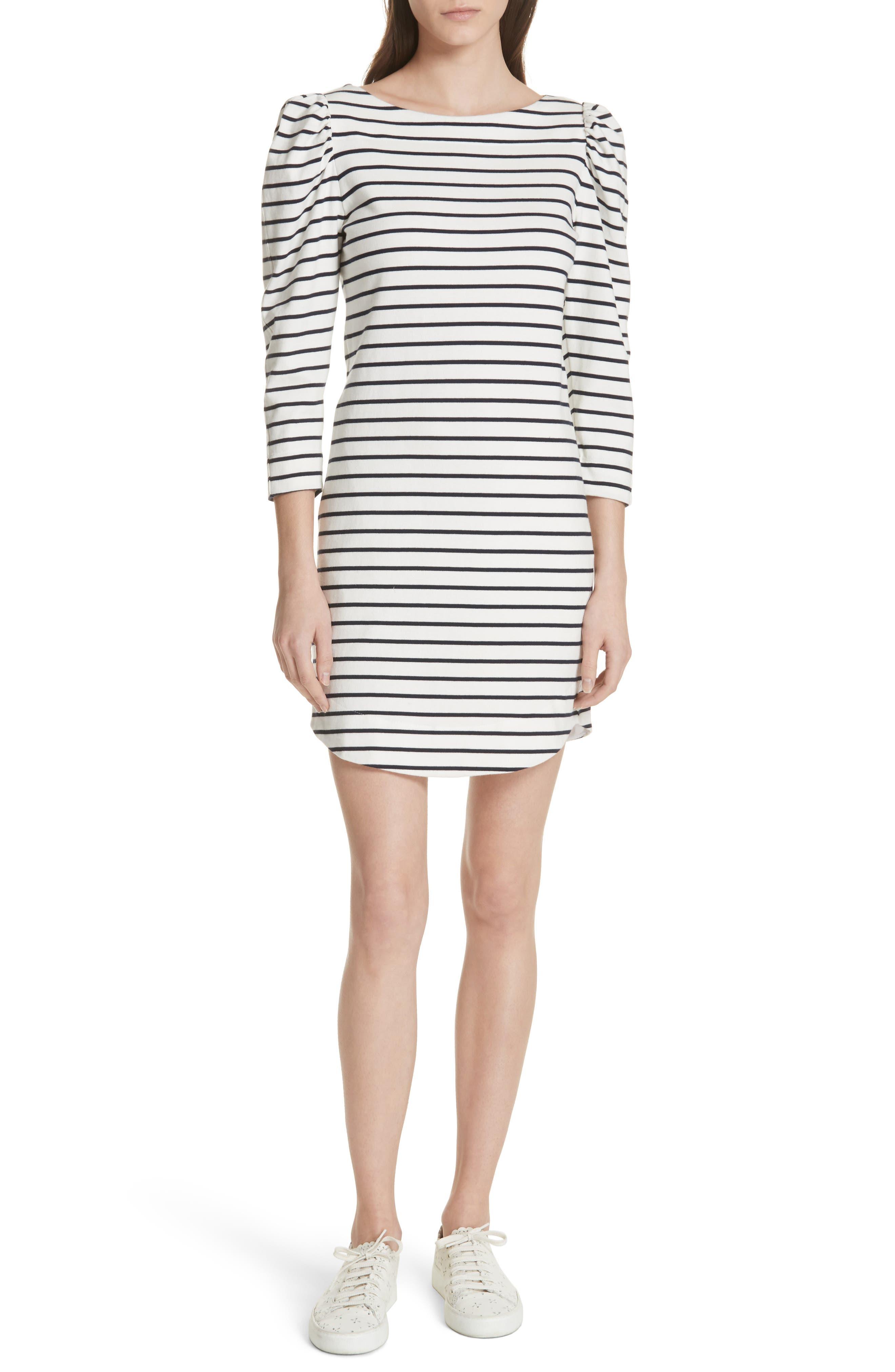 Stripe Knit Dress,                         Main,                         color, Milk Combo