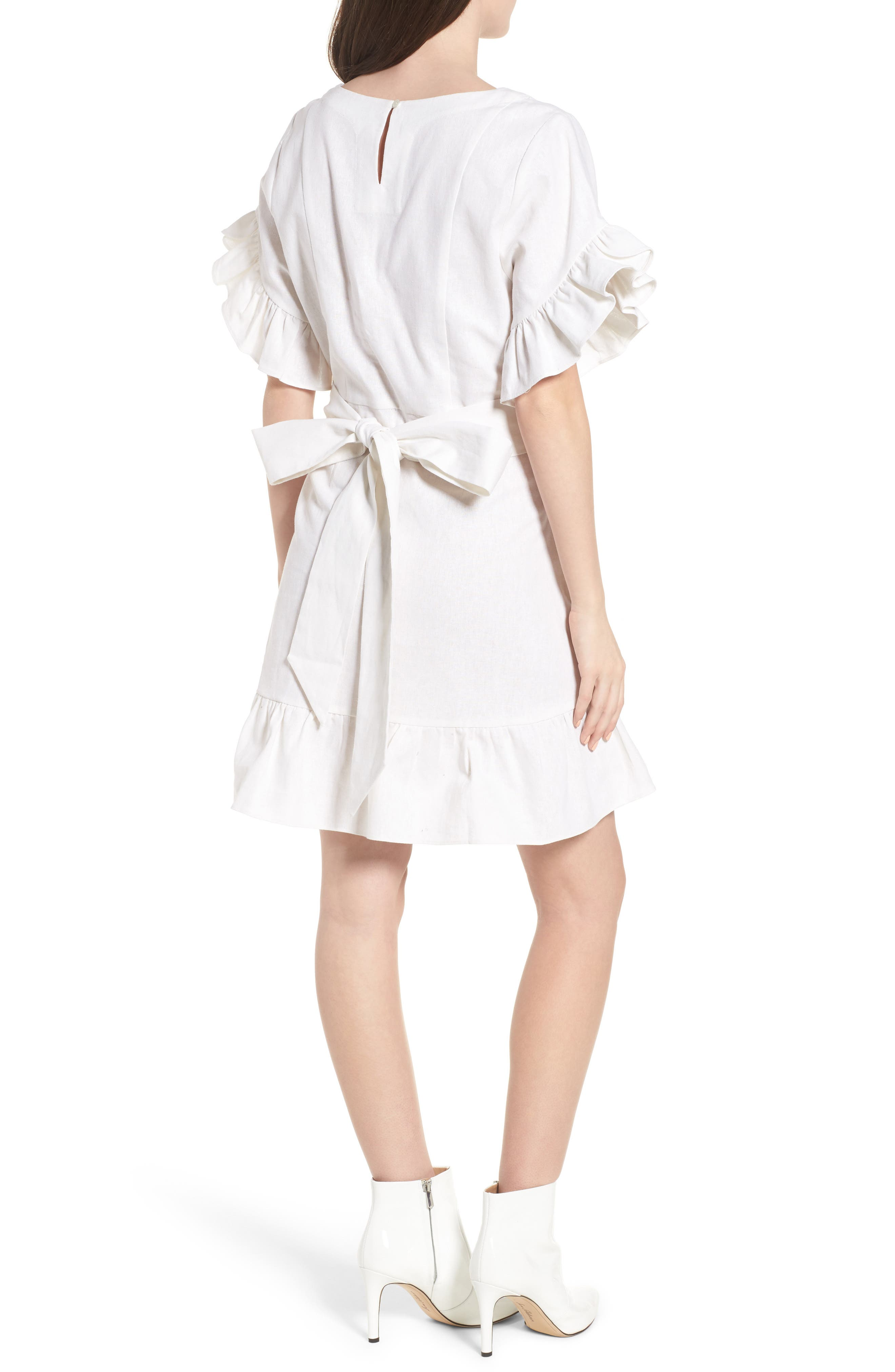 Ruffle Faux Wrap Dress,                             Alternate thumbnail 2, color,                             Ivory