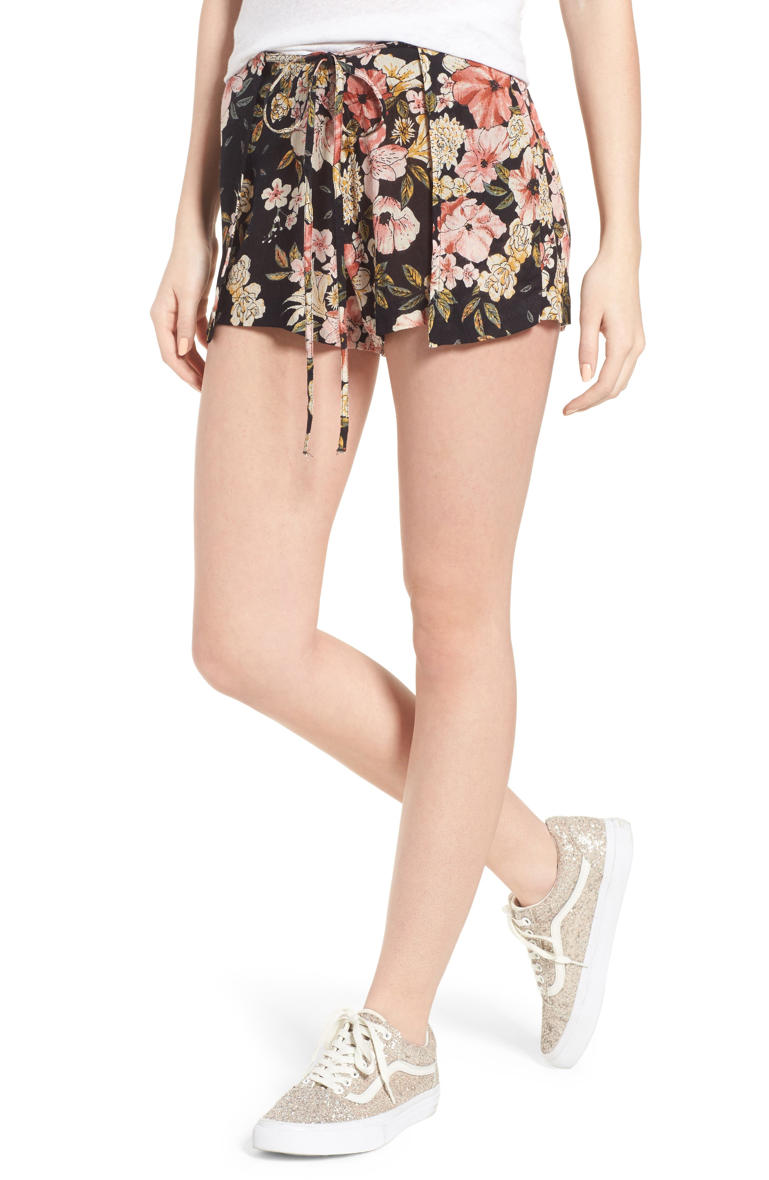 Trippy Day Floral Print Shorts,                         Main,                         color, Black