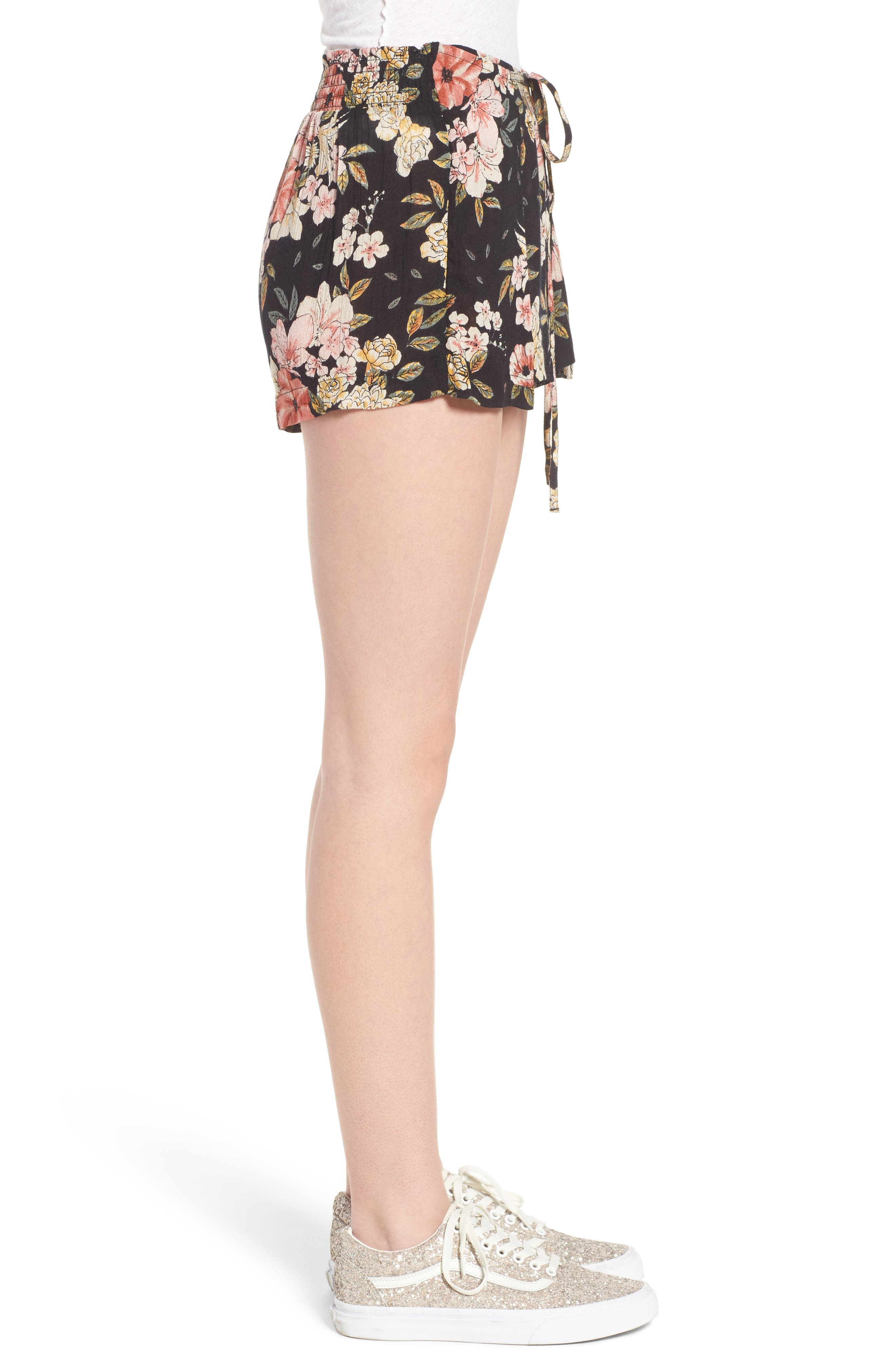 Trippy Day Floral Print Shorts,                             Alternate thumbnail 4, color,                             Black