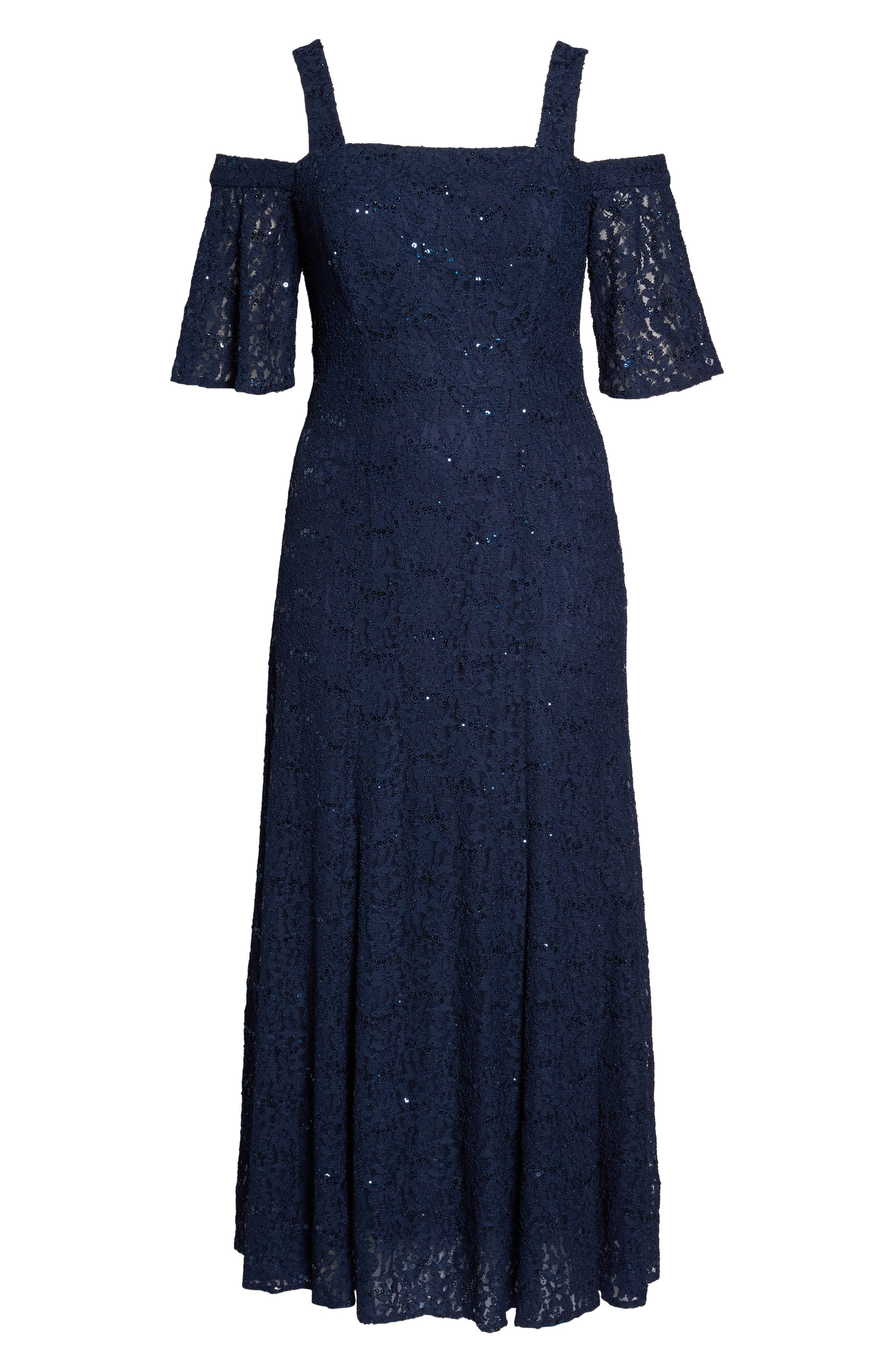Embellished Lace Cold Shoulder Gown,                             Alternate thumbnail 6, color,                             Navy