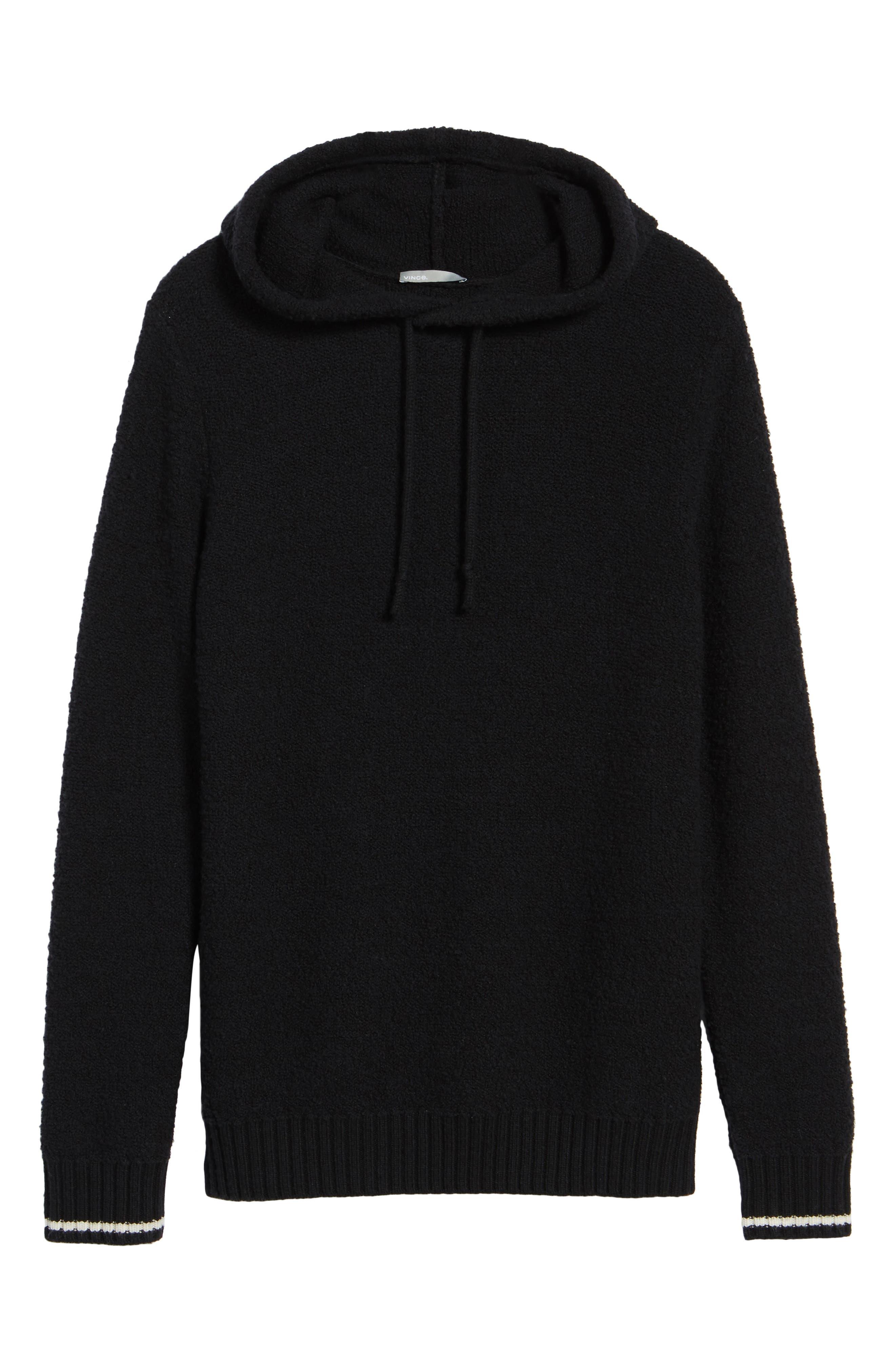 Wool Fleece Pullover Hoodie,                             Alternate thumbnail 6, color,                             Black