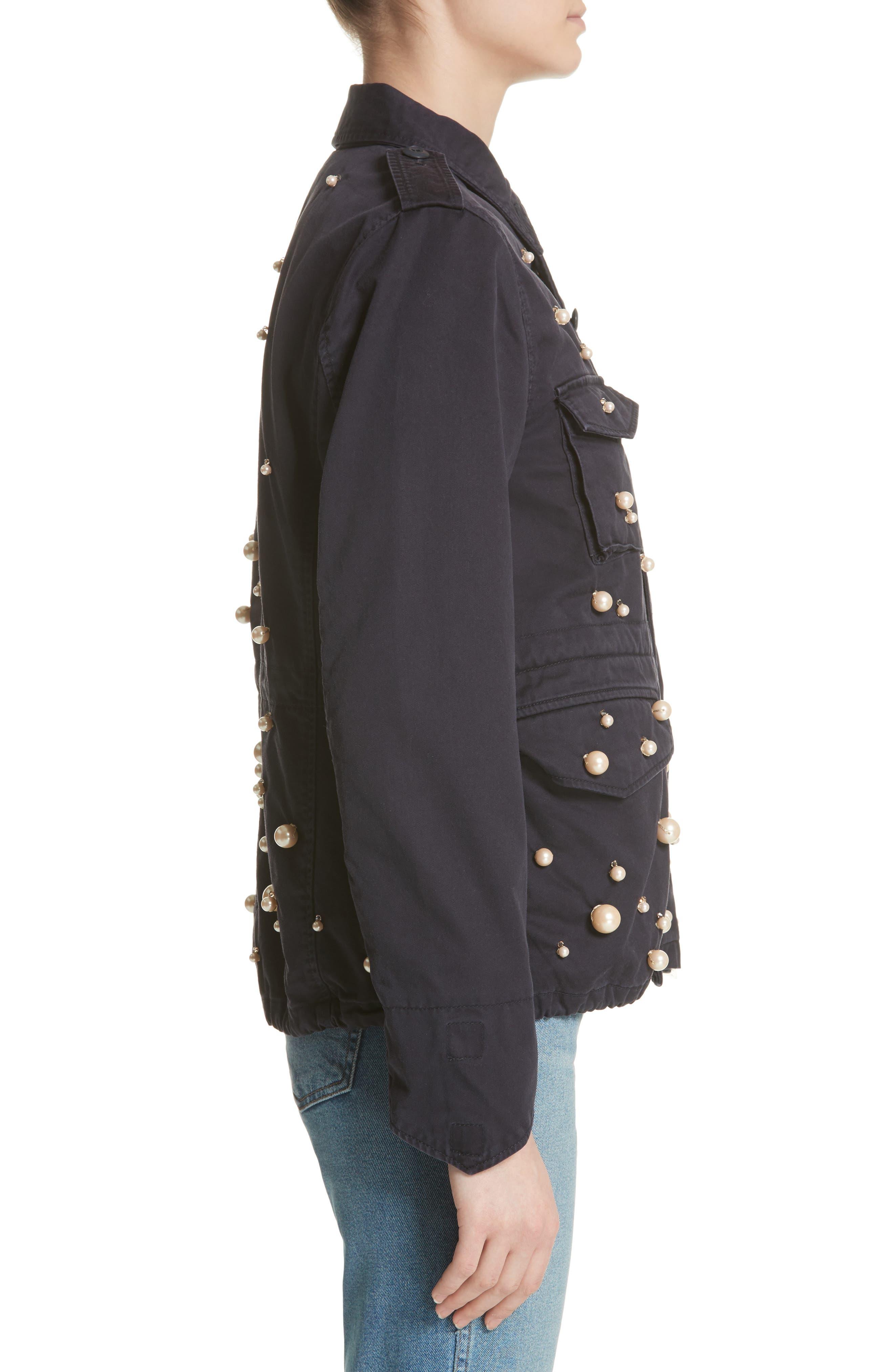 Snow Imitation Pearl Embellished Field Jacket,                             Alternate thumbnail 3, color,                             Navy Navy