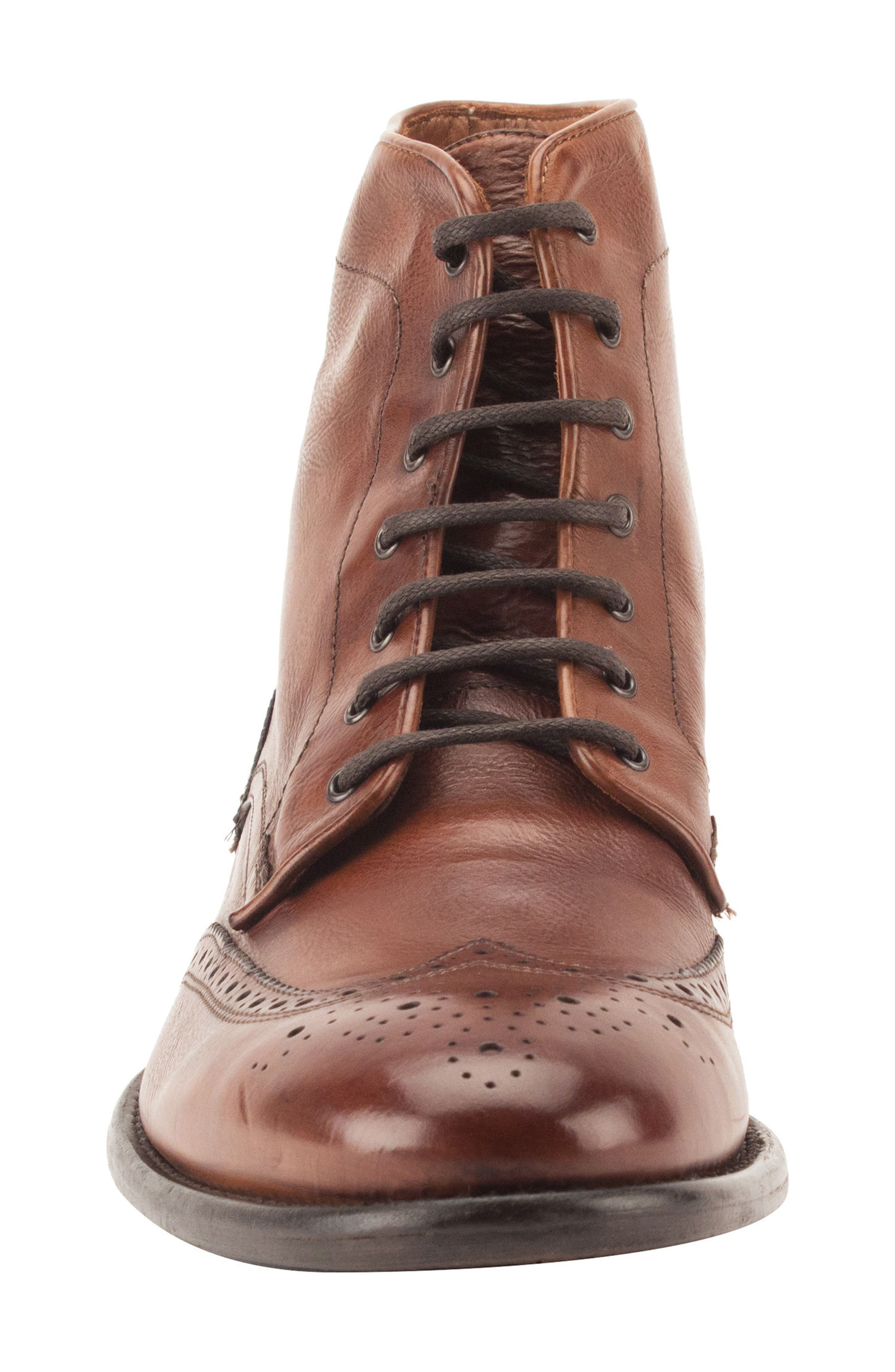 Maxfield Wingtip Boot,                             Alternate thumbnail 4, color,                             Cognac Leather