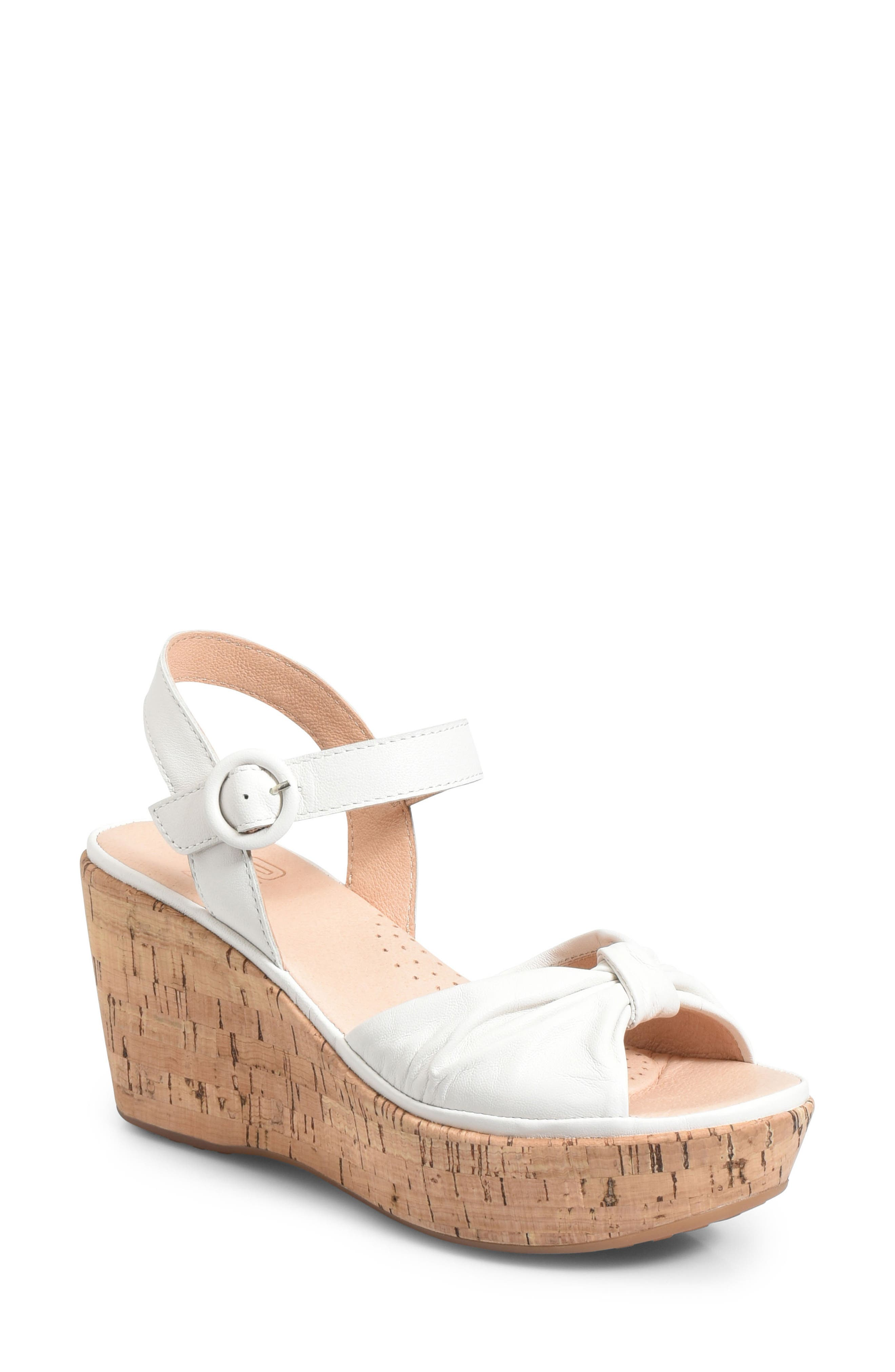 Heavenly Platform Wedge Sandal,                         Main,                         color, White Leather