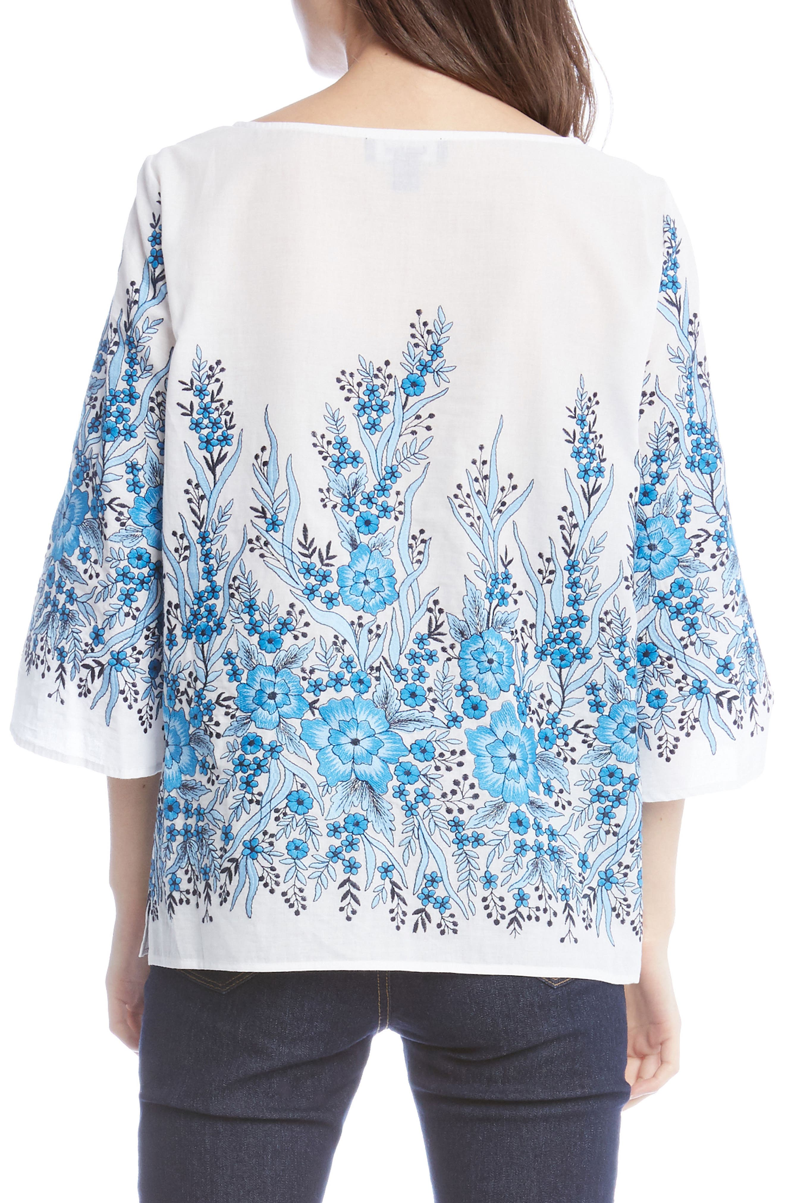 Embroidered Cotton Top,                             Alternate thumbnail 2, color,                             White
