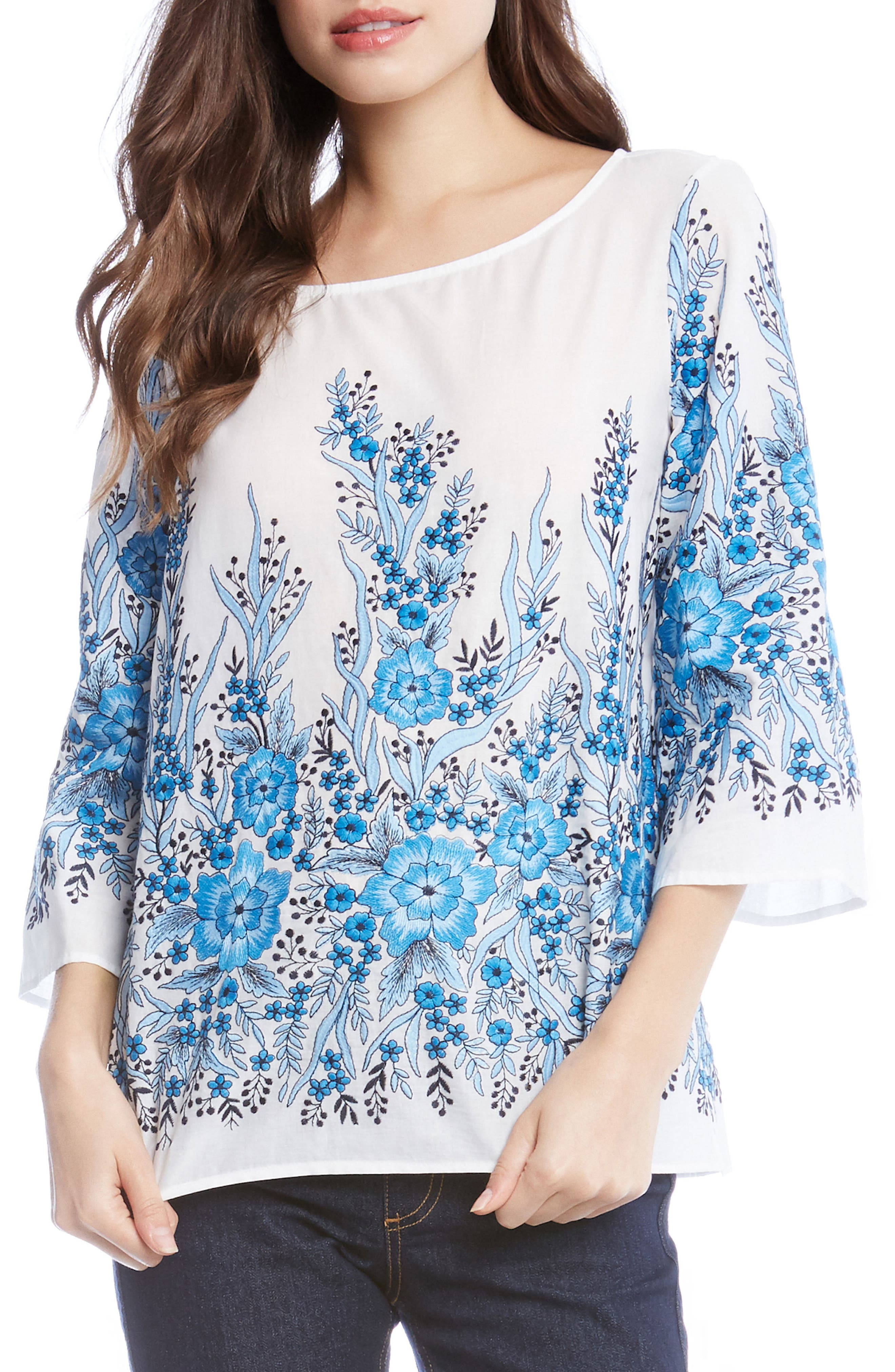 Embroidered Cotton Top,                             Main thumbnail 1, color,                             White