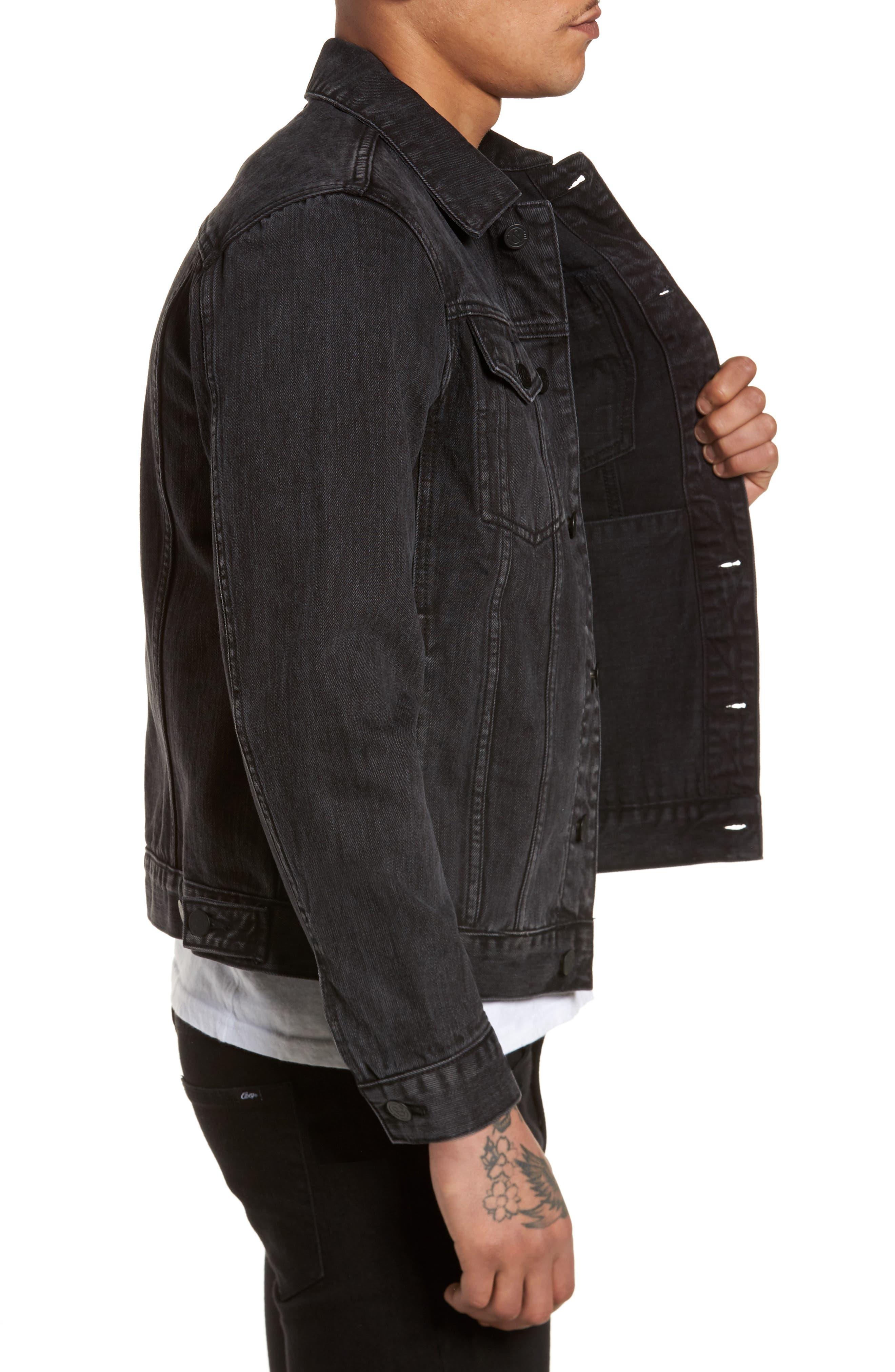 Denim Jacket,                             Alternate thumbnail 3, color,                             Black Wash