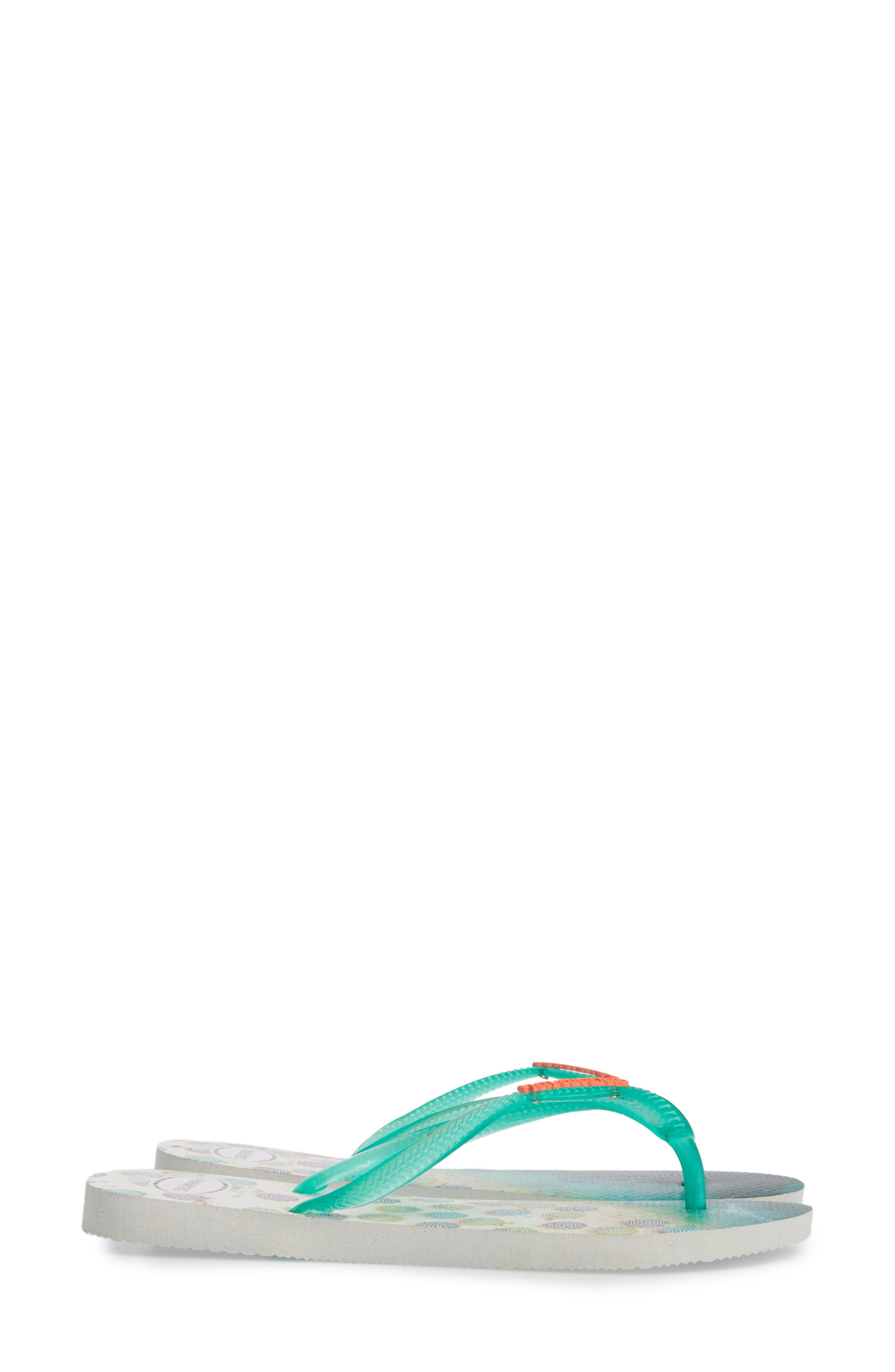 'Slim Paisage' Flip Flop,                             Alternate thumbnail 4, color,                             White/ Mint Green