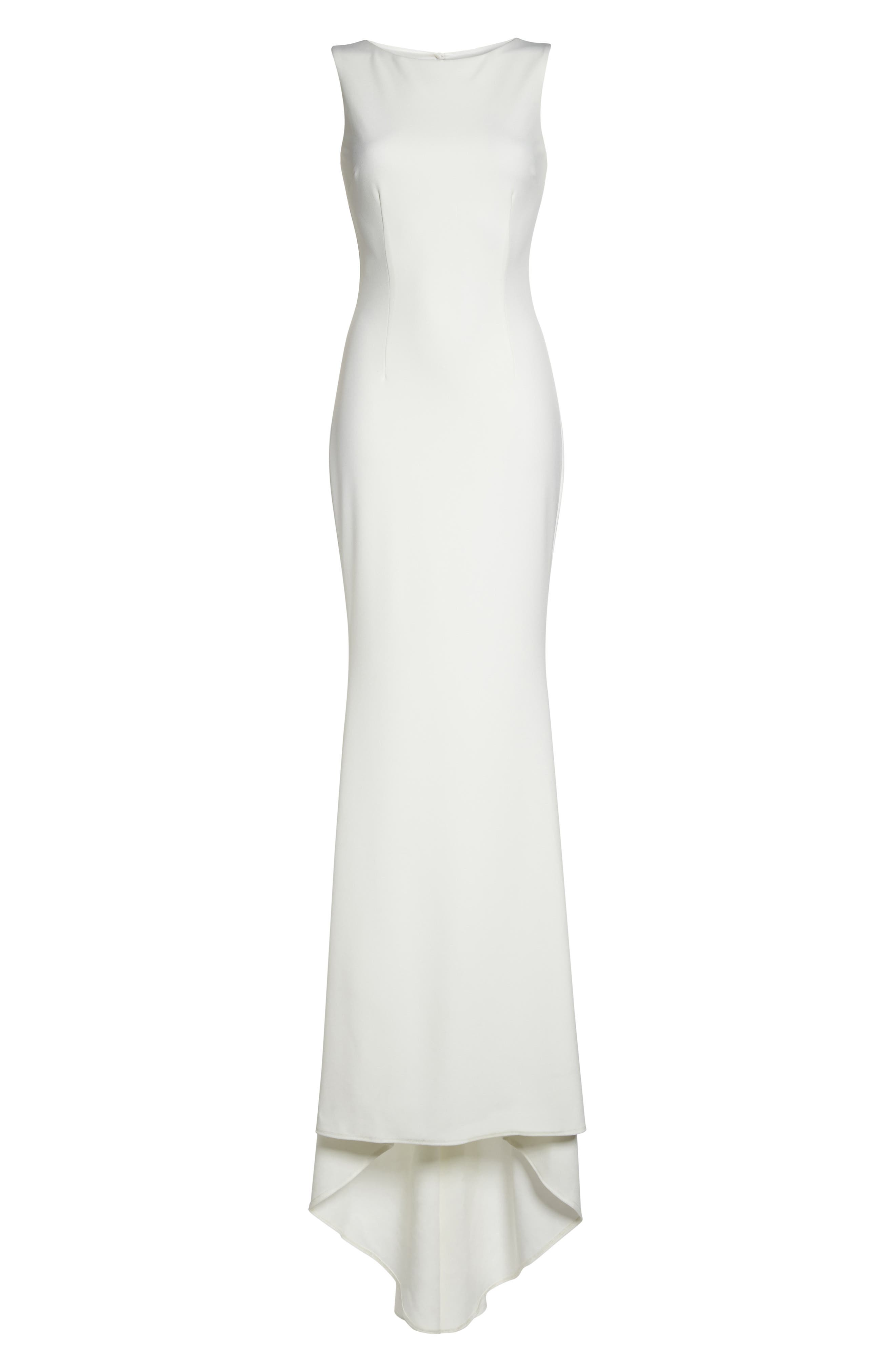 Low Back Crepe Mermaid Gown,                             Alternate thumbnail 12, color,                             Ivory
